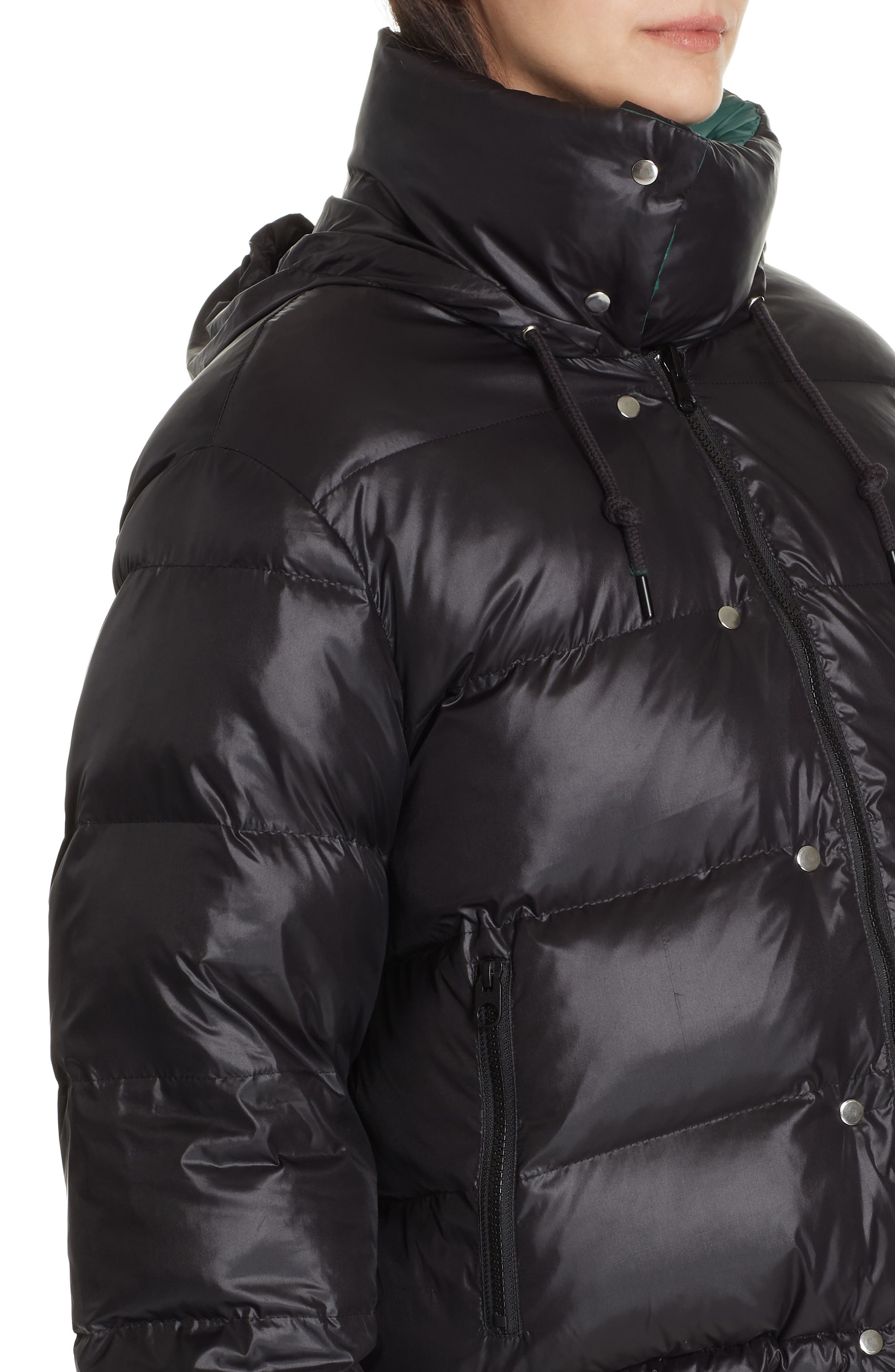 PROENZA SCHOULER, PSWL Reversible Puffer Coat, Alternate thumbnail 2, color, GREEN/ BLACK