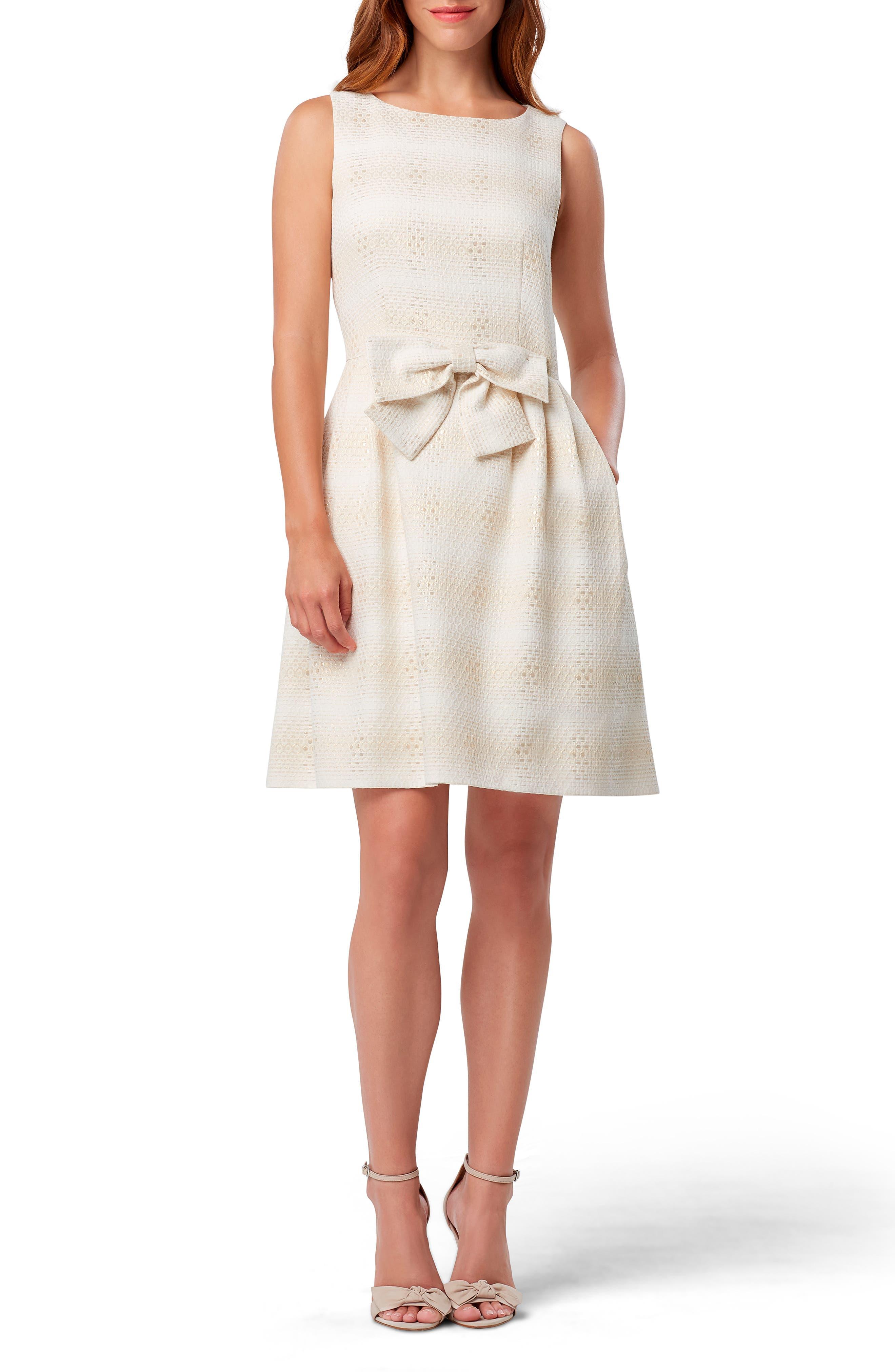 Tahari Sleeveless Metallic Jacquard Bow Front Dress, Beige