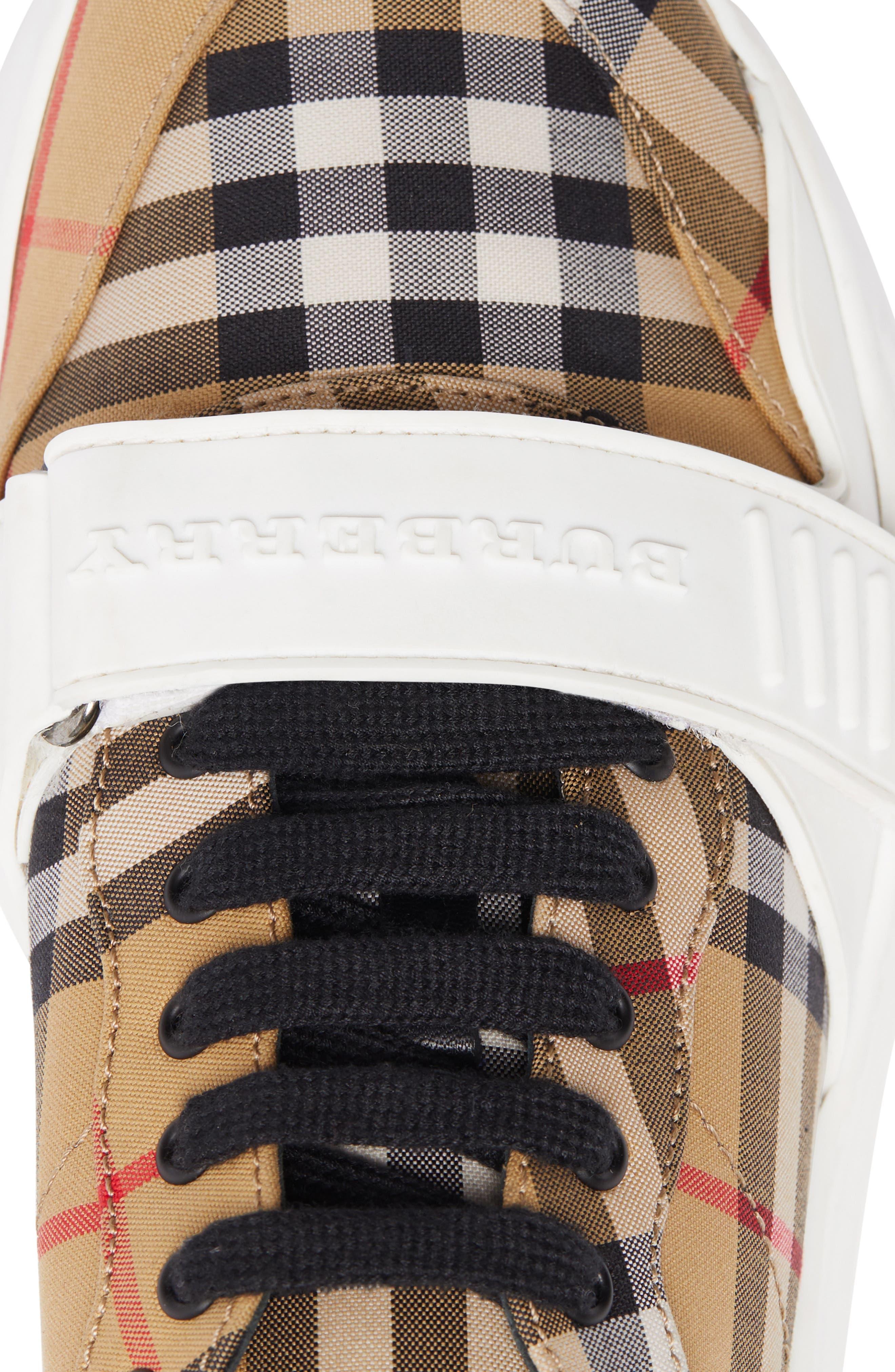 BURBERRY, Regis Check Lace-Up Sneaker, Alternate thumbnail 7, color, BEIGE PLAID