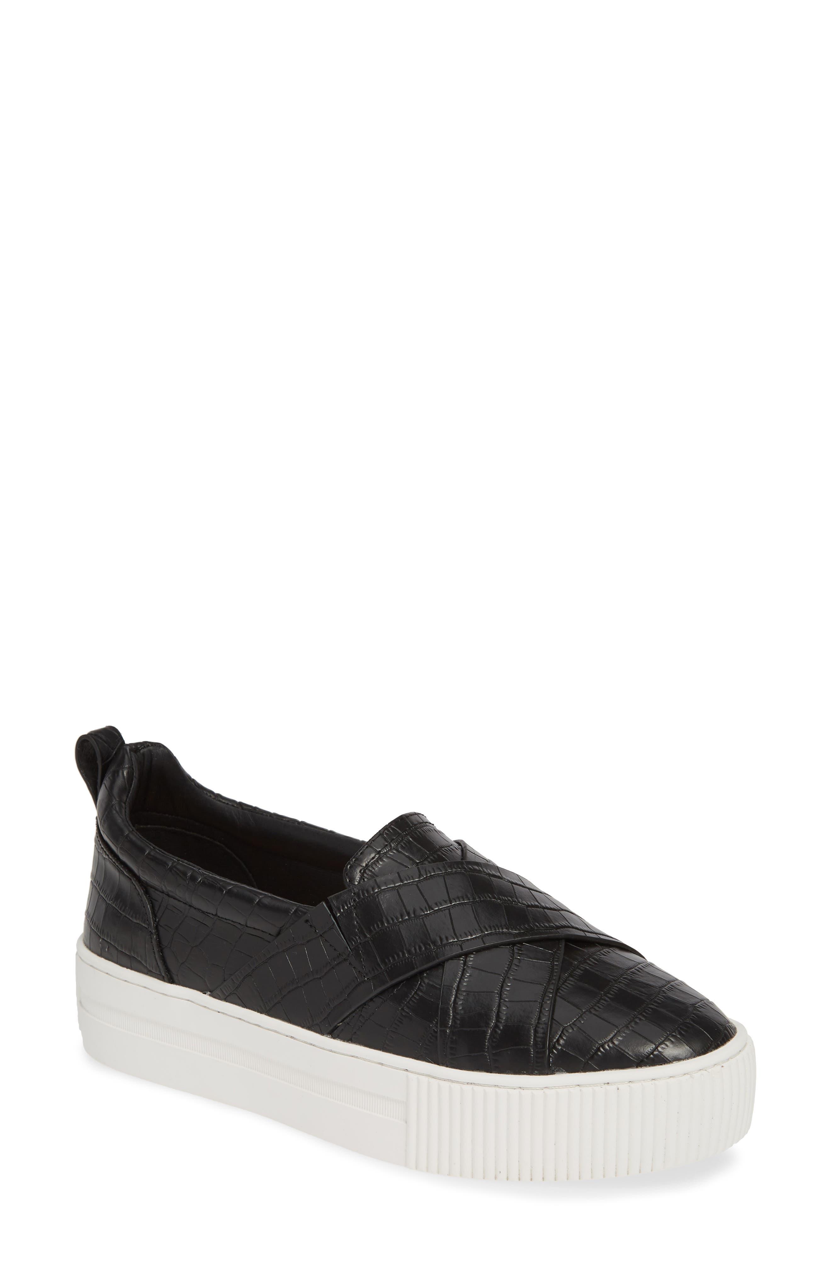 HALOGEN<SUP>®</SUP> Blakely Slip-On Platform Sneaker, Main, color, BLACK CROCO PRINTED LEATHER