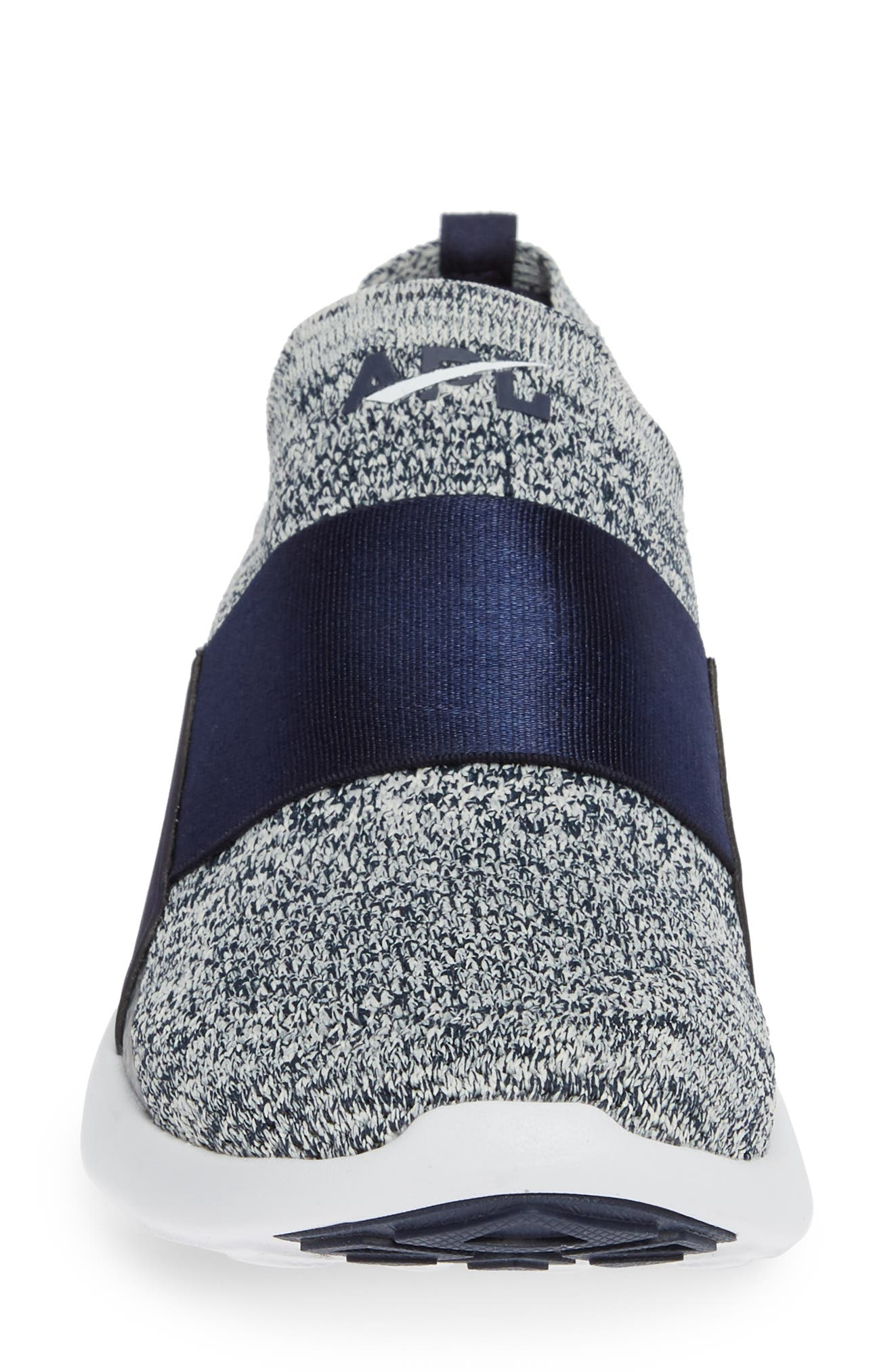 APL, TechLoom Bliss Knit Running Shoe, Alternate thumbnail 4, color, NAVY/ PRISTINE/ WHITE