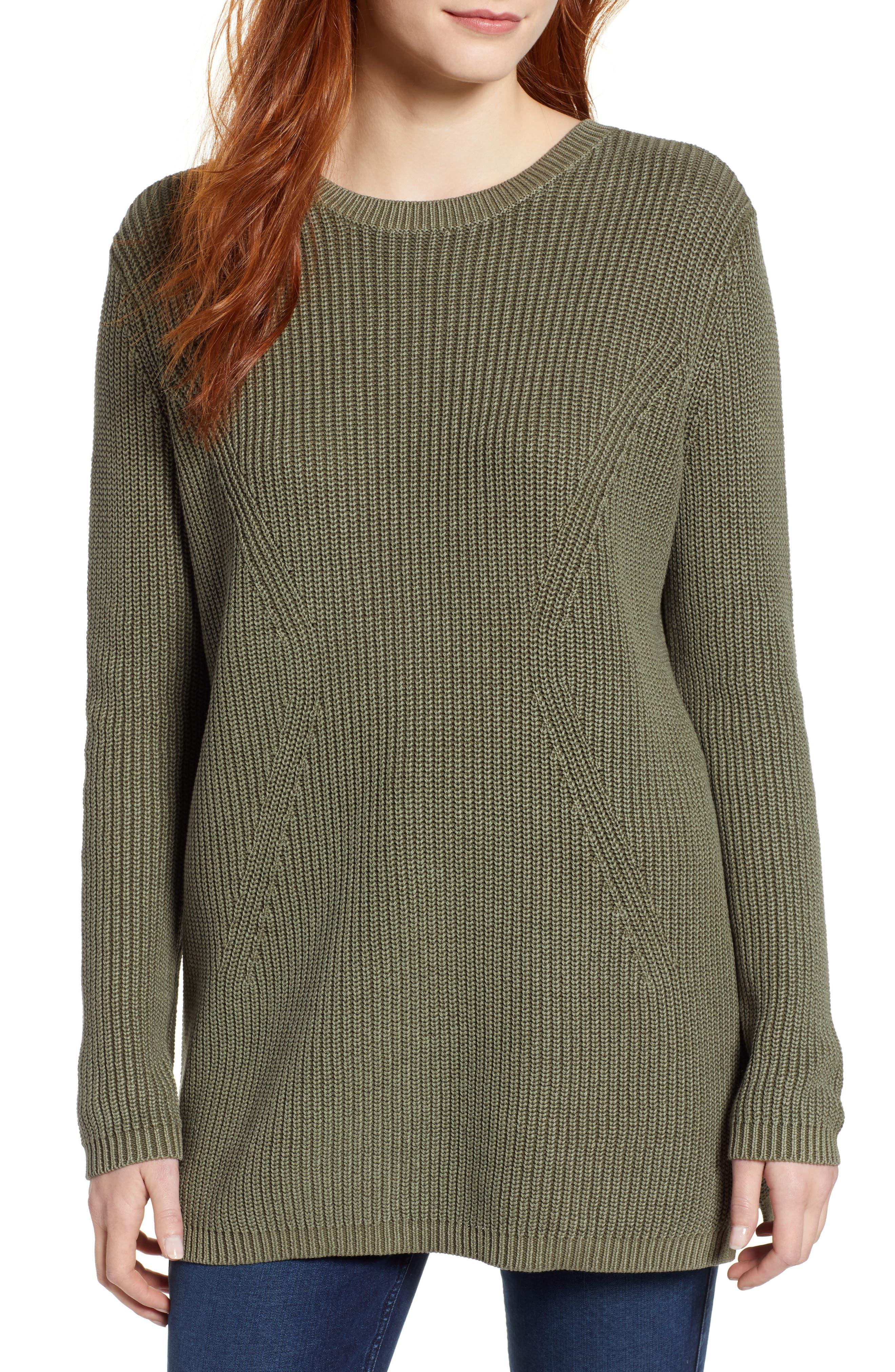 CASLON<SUP>®</SUP> Tie Back Tunic Sweater, Main, color, OLIVE SARMA