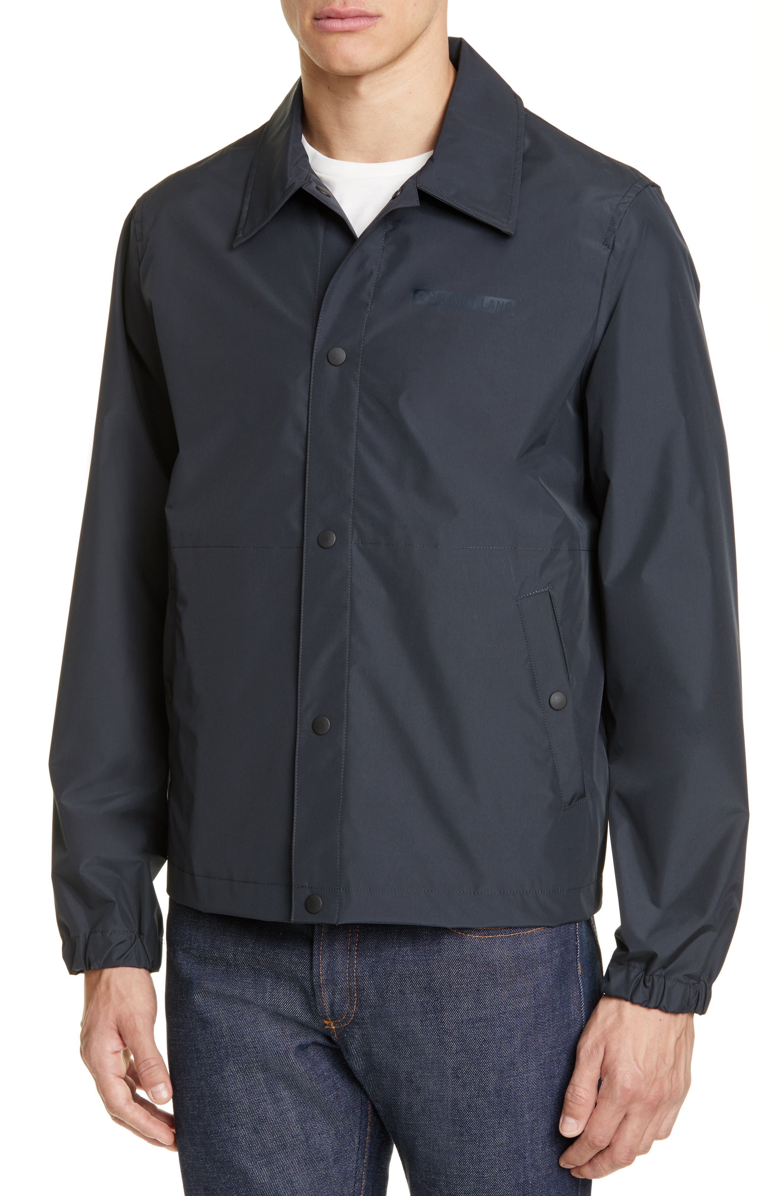 HELMUT LANG, Stadium Coach's Jacket, Alternate thumbnail 4, color, BLACK