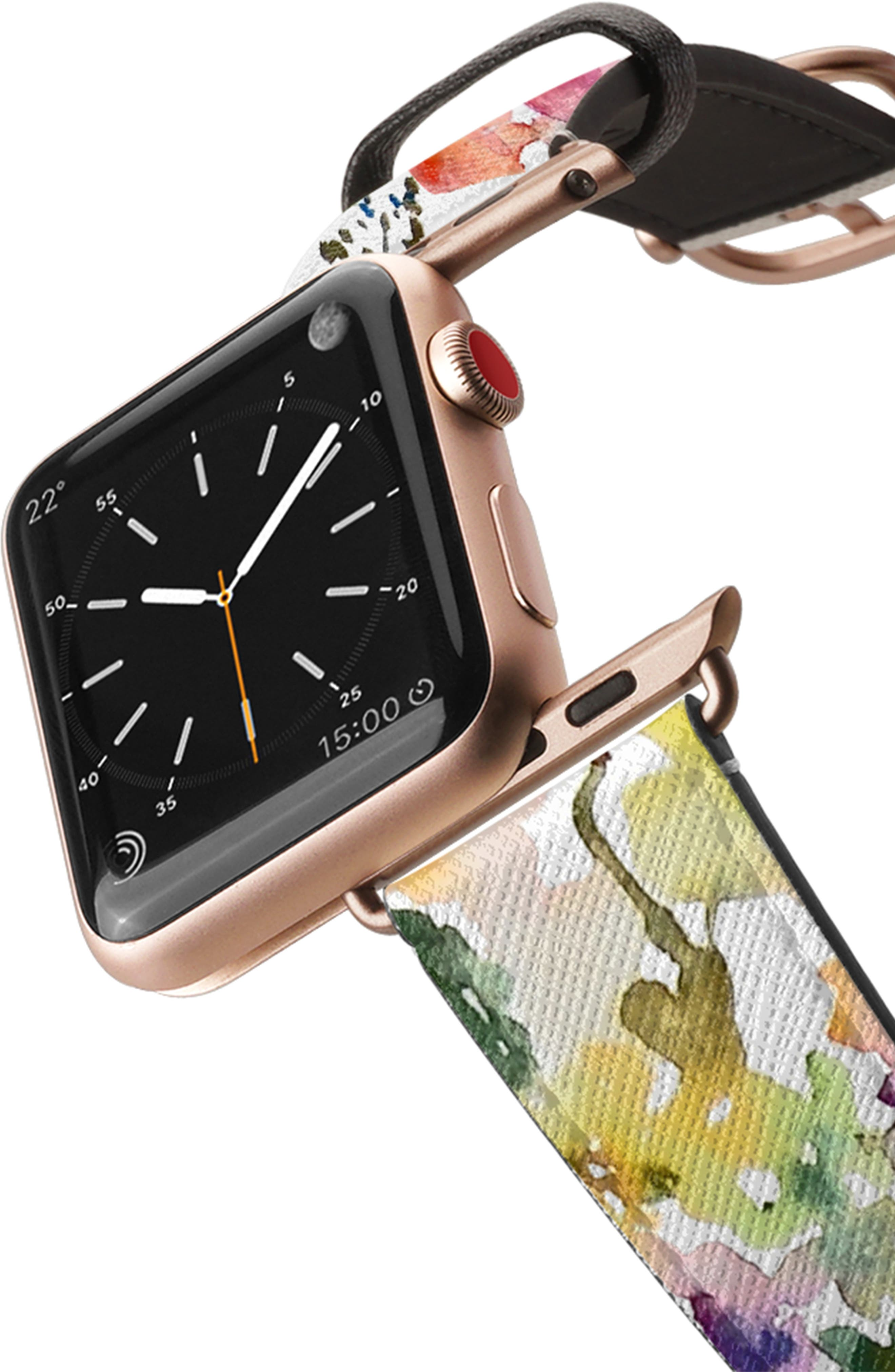 CASETIFY, Saffiano From the Garden Faux Leather Apple Watch Strap, Alternate thumbnail 2, color, WHITE/ ROSE GOLD