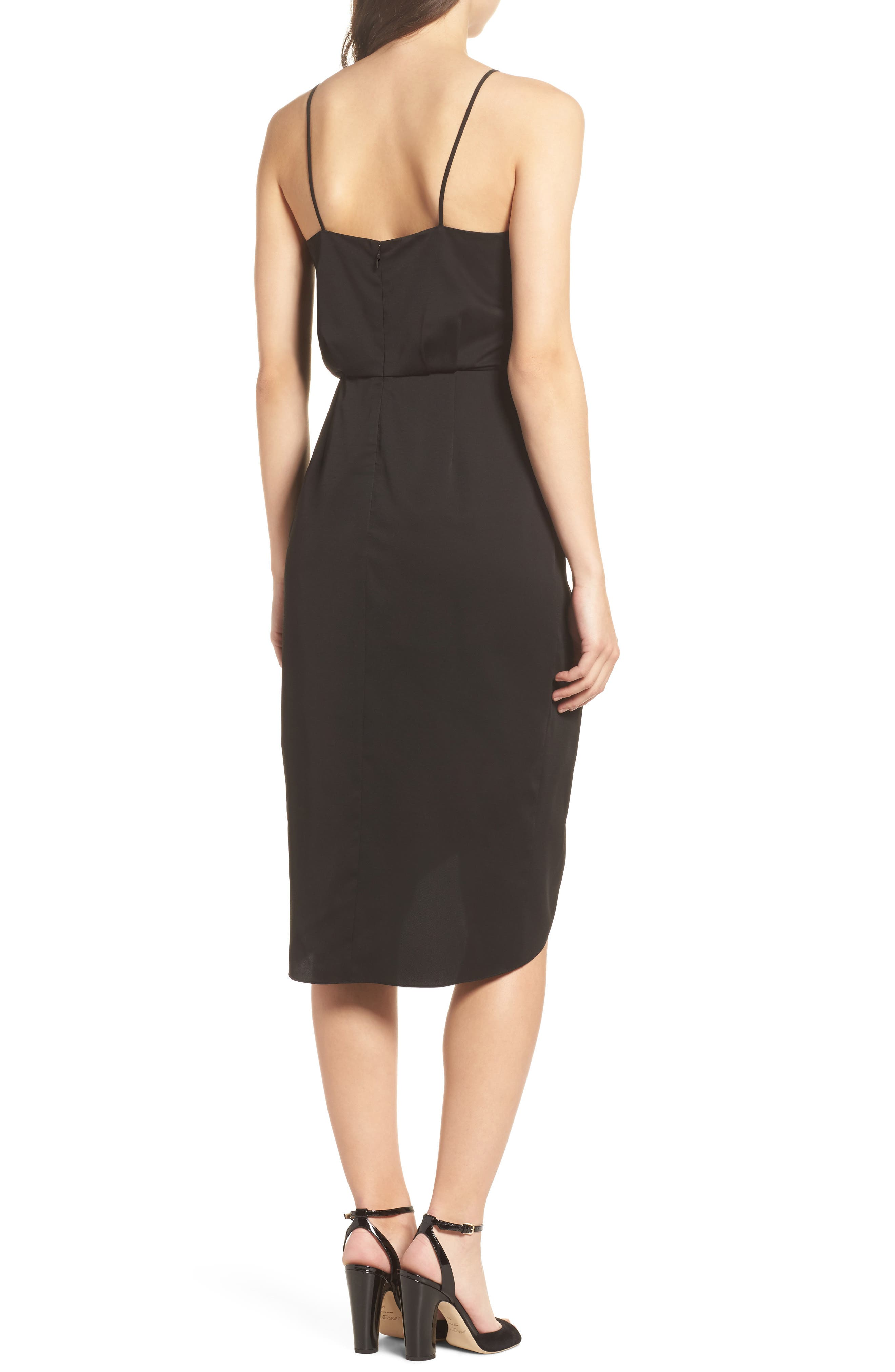 CHELSEA28, Print Faux Wrap Dress, Alternate thumbnail 2, color, BLACK