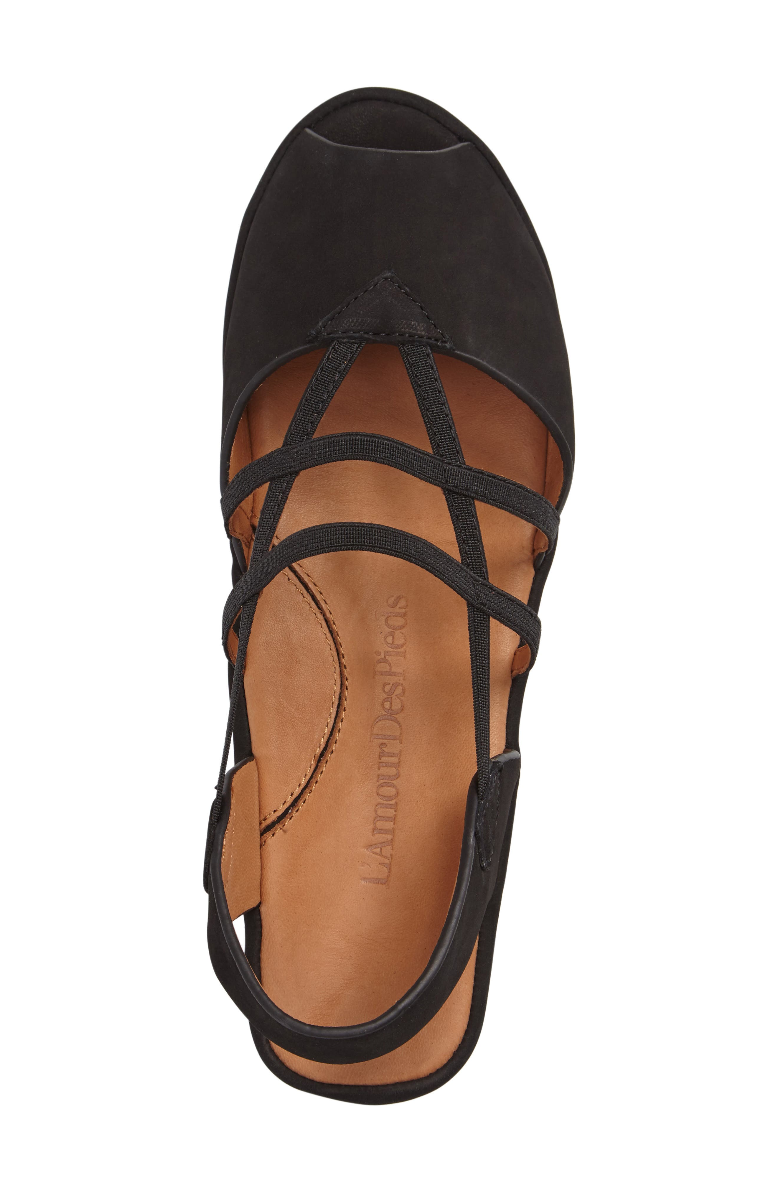 L'AMOUR DES PIEDS, Adelais Platform Wedge Sandal, Alternate thumbnail 3, color, BLACK NUBUCK LEATHER