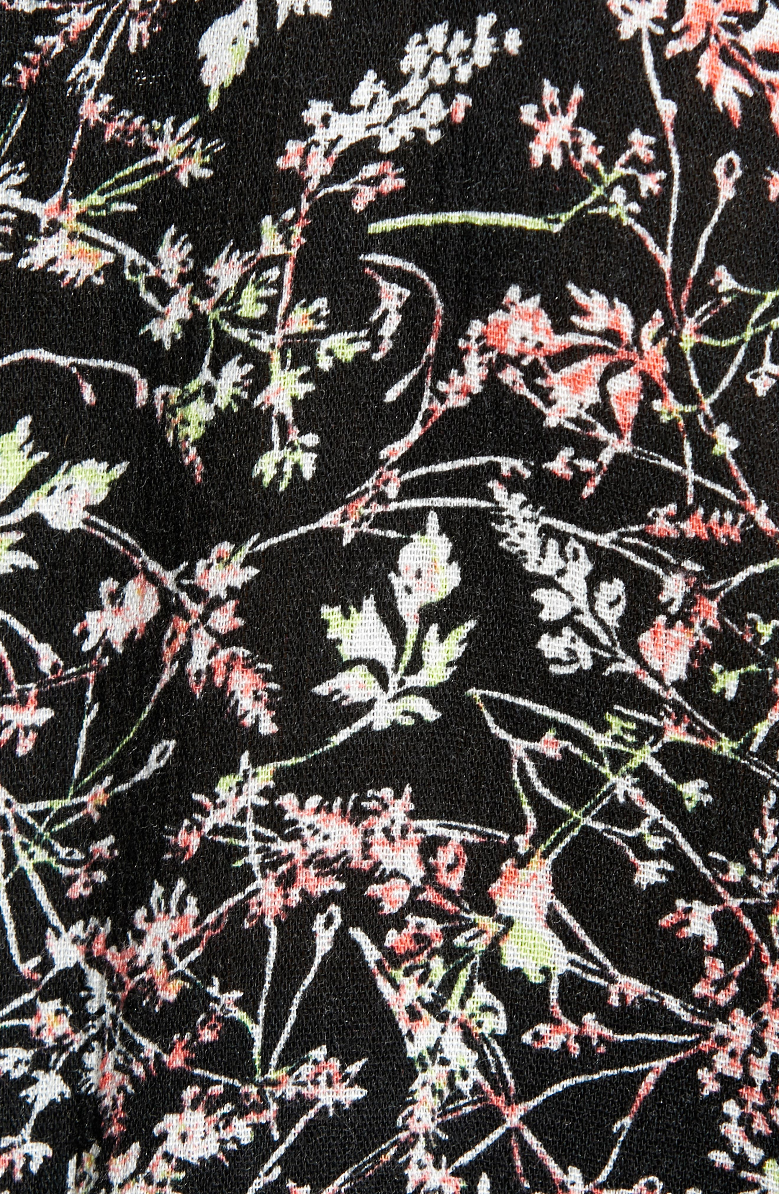 CASLON<SUP>®</SUP>, Print Fringe Trim Top, Alternate thumbnail 5, color, BLACK- GREEN NATURE FLORAL