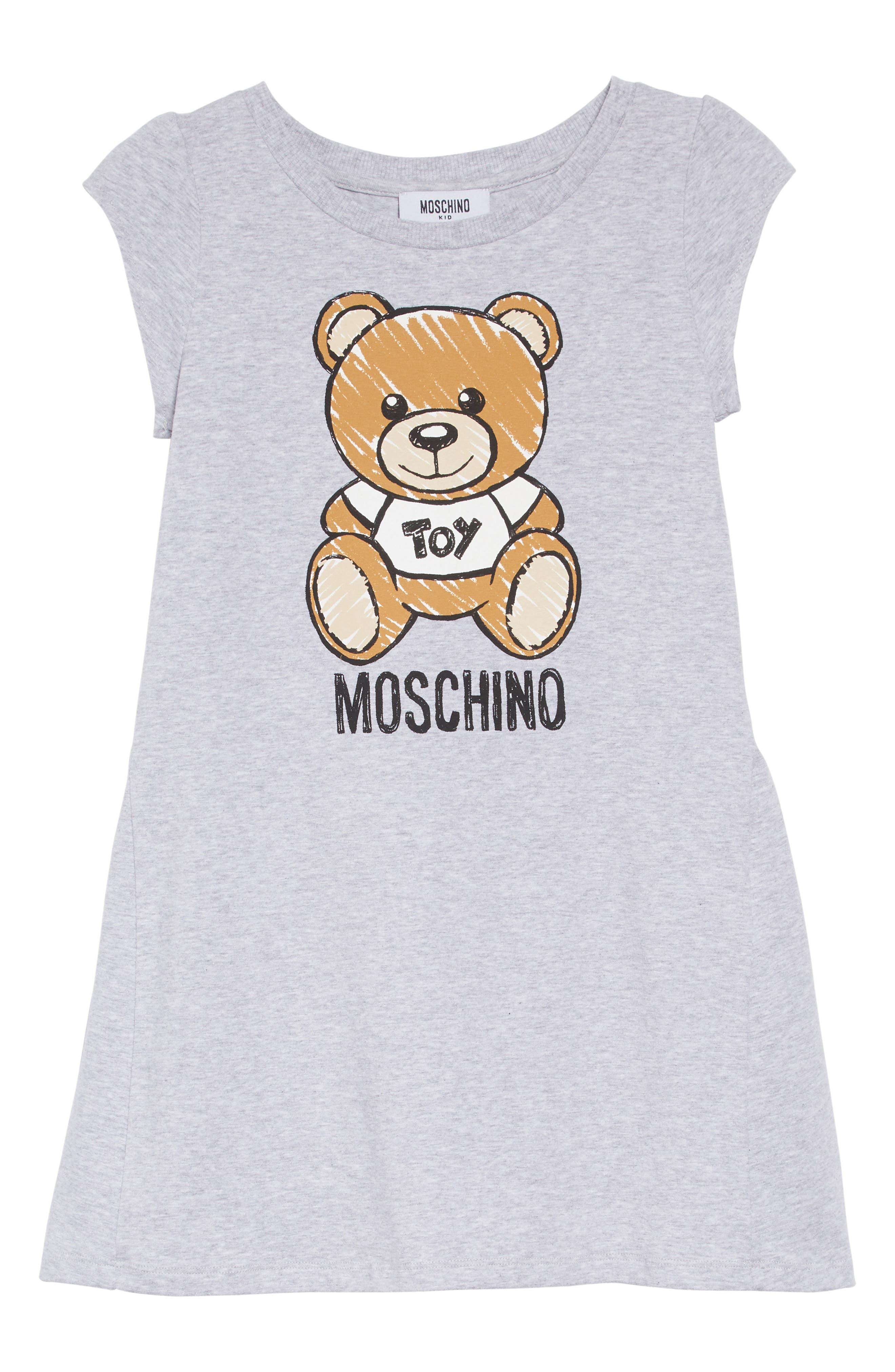 Girls Moschino Bear Print Dress Size 6Y  Grey