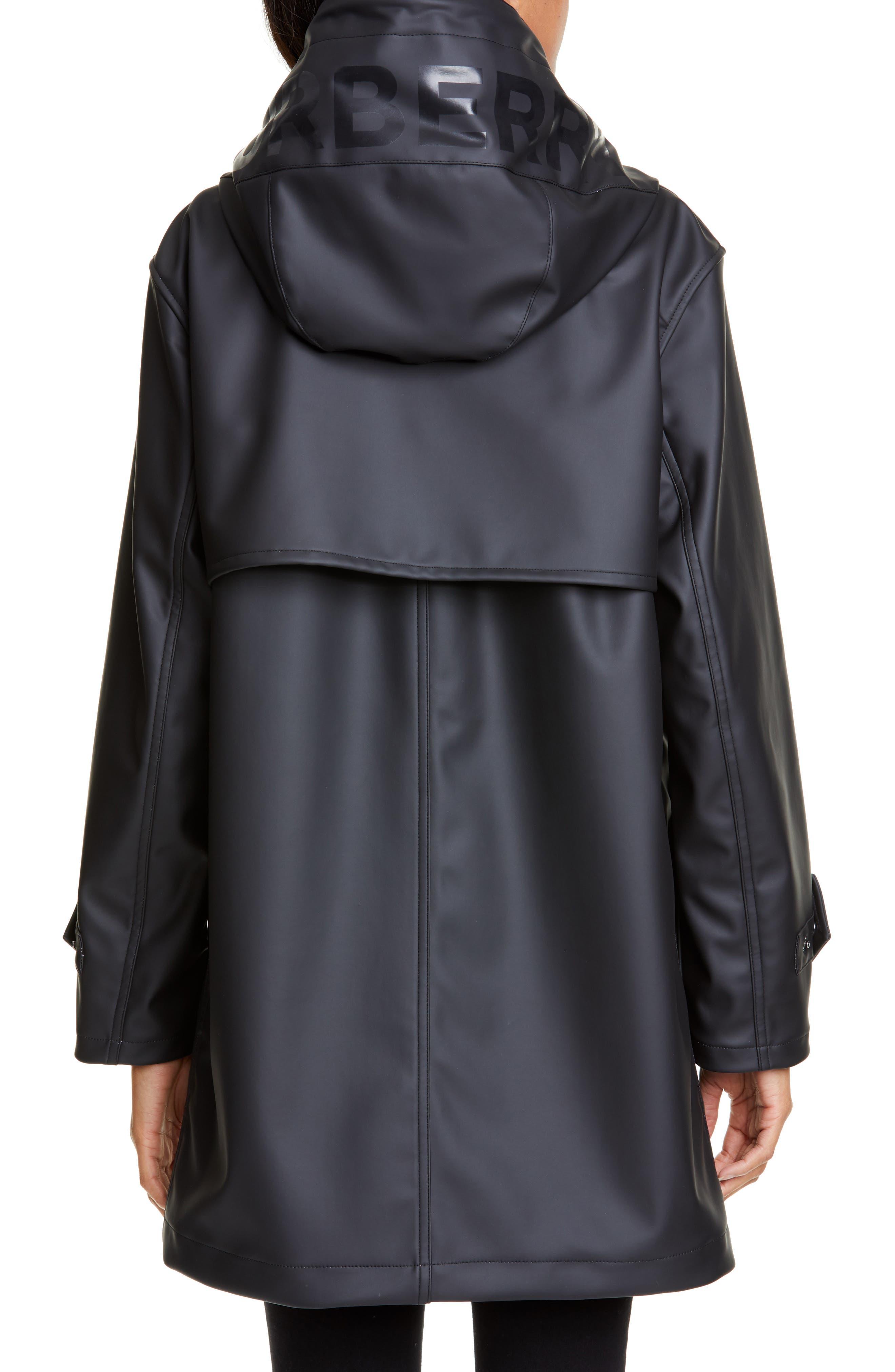 BURBERRY, Hartlebury Coated Rain Coat, Alternate thumbnail 2, color, BLACK / WHITE