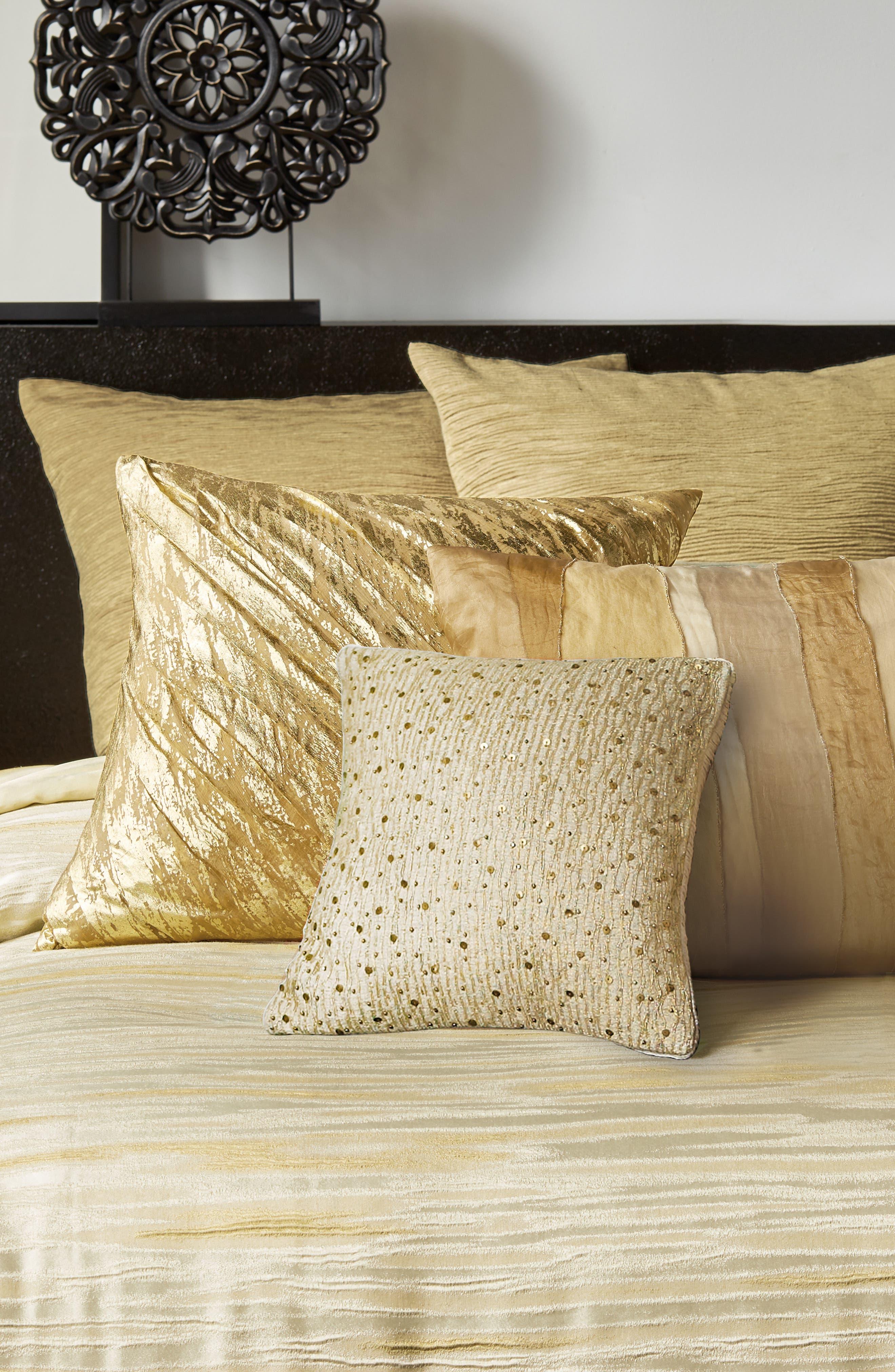 DONNA KARAN NEW YORK, Gilded Sheer Layered Accent Pillow, Alternate thumbnail 4, color, GOLD