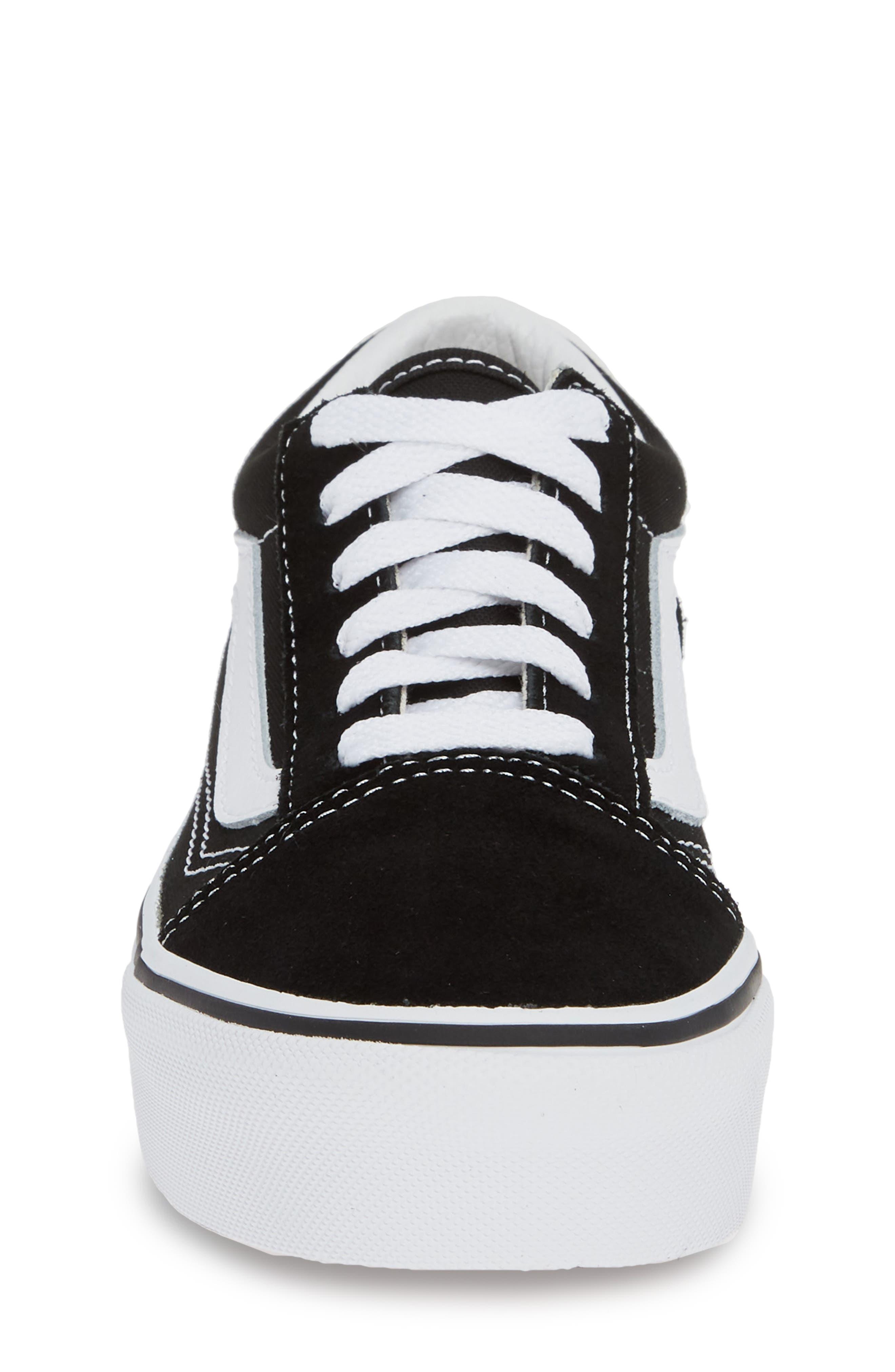 VANS, Old Skool Platform Sneaker, Alternate thumbnail 4, color, BLACK/ TRUE WHITE