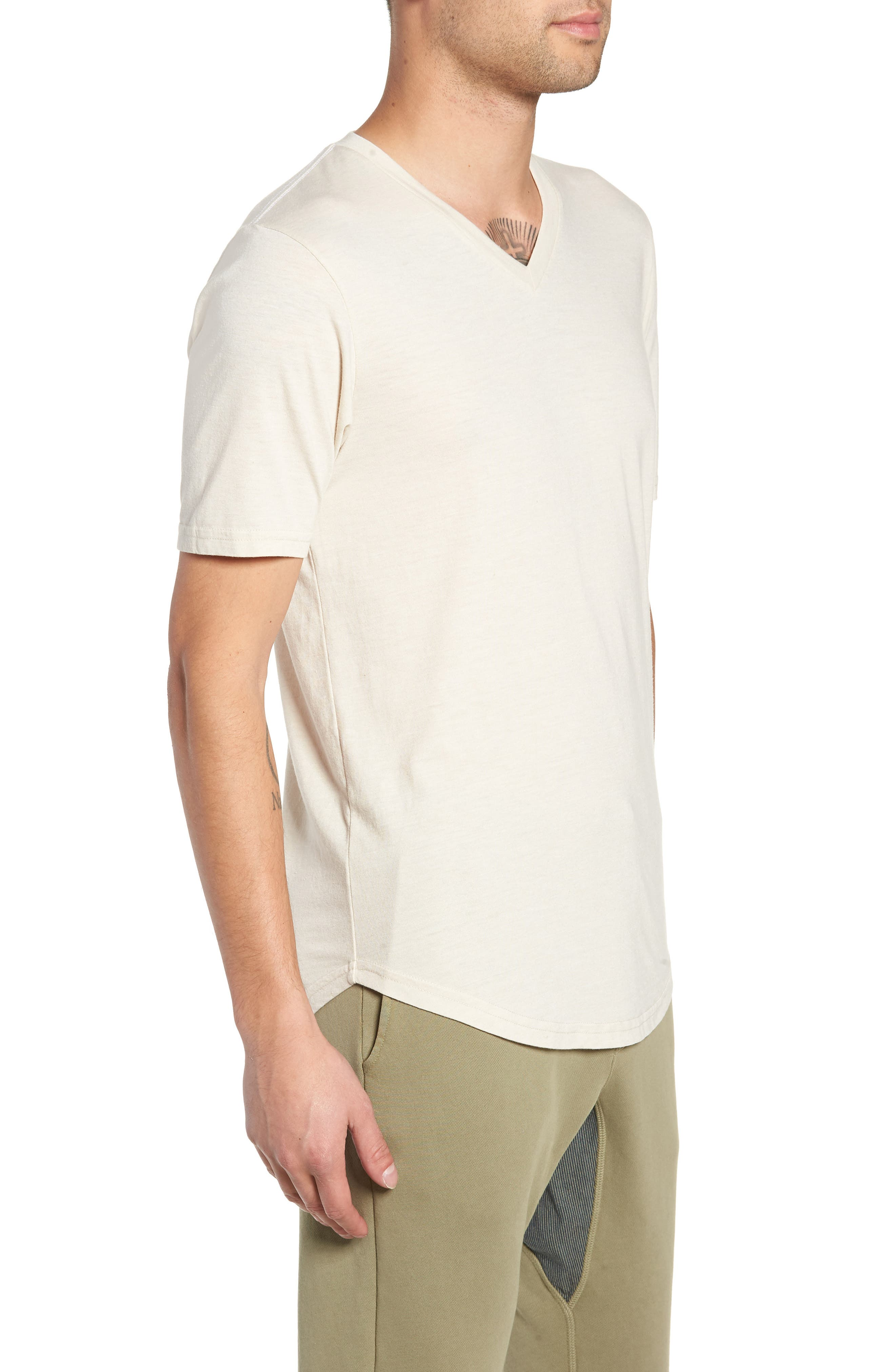 GOODLIFE, Scallop Triblend V-Neck T-Shirt, Alternate thumbnail 3, color, OYSTER