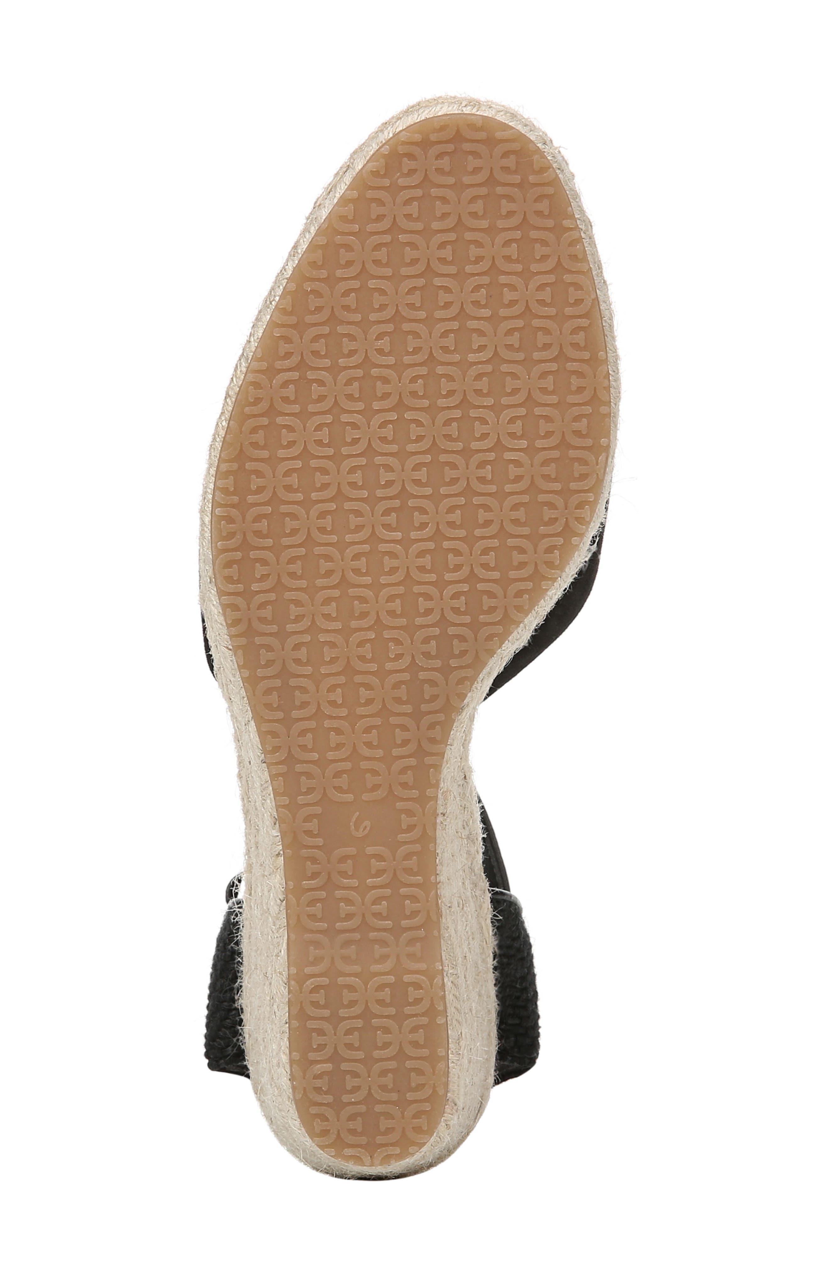 SAM EDELMAN, Payton Wedge Sandal, Alternate thumbnail 6, color, BLACK