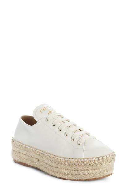 Prada Leather Platform Sneaker Espadrilles In White
