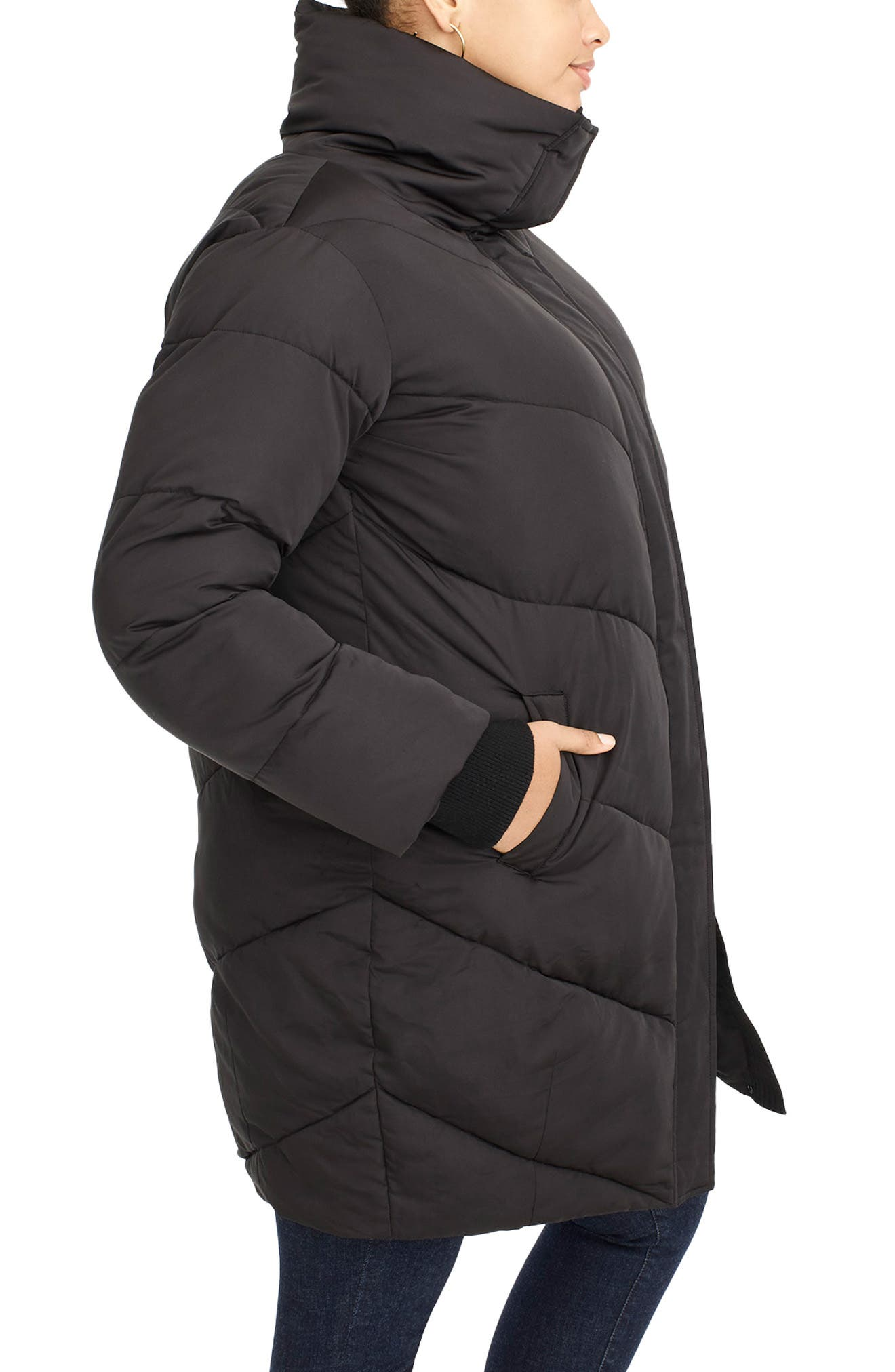 UNIVERSAL STANDARD, for J.Crew Chevron Long Puffer Coat, Alternate thumbnail 4, color, BLACK