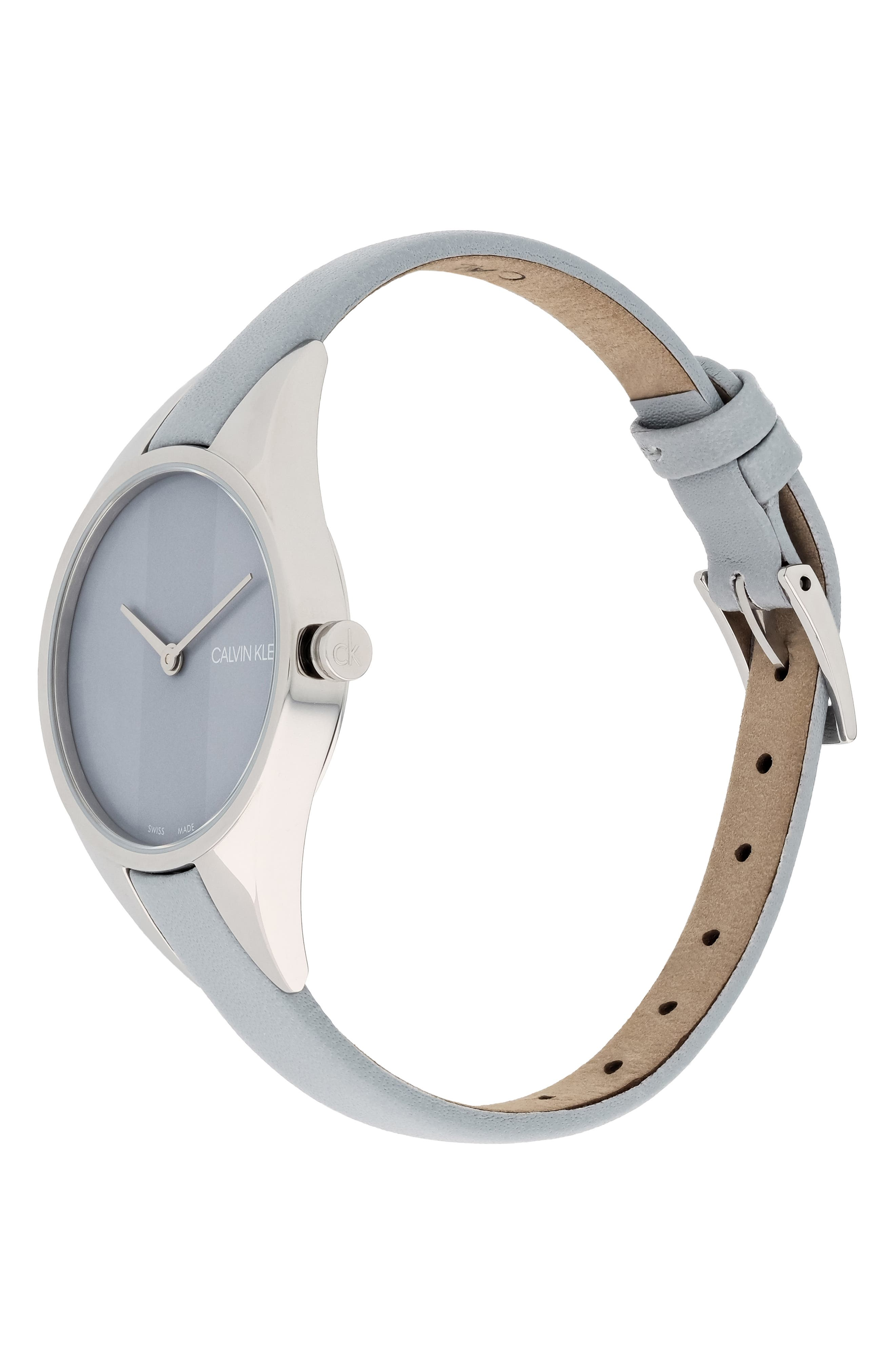 CALVIN KLEIN, Achieve Rebel Leather Band Watch, 29mm, Alternate thumbnail 4, color, GREY/ SILVER