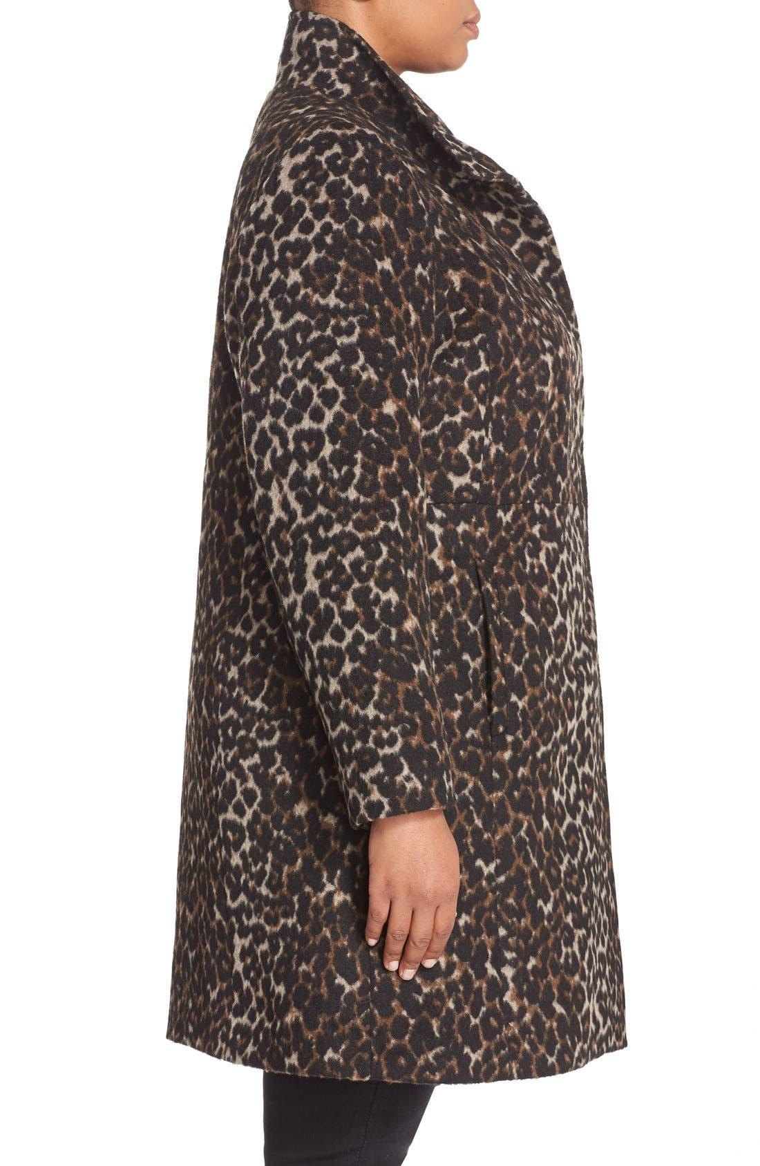 VIA SPIGA, Leopard Print Stand Collar Coat, Alternate thumbnail 3, color, 250