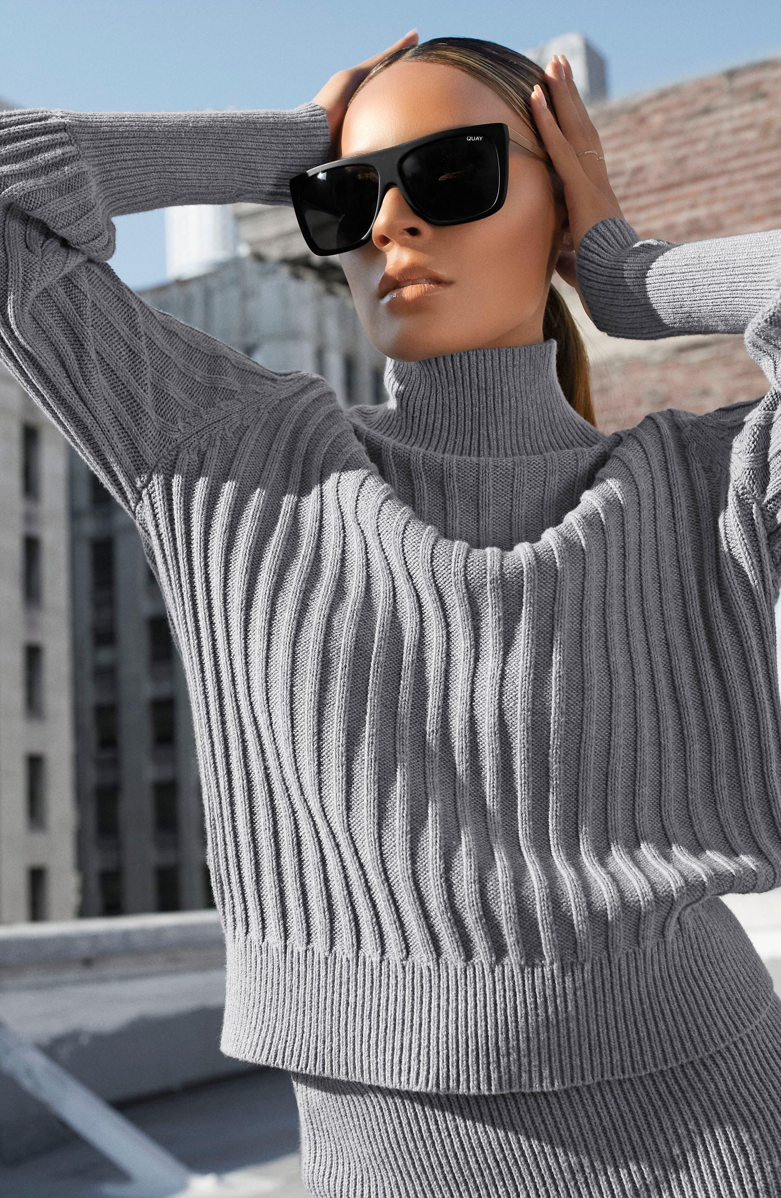 QUAY AUSTRALIA, x Desi Perkins On the Low 60mm Square Sunglasses, Alternate thumbnail 6, color, BLACK/ SMOKE