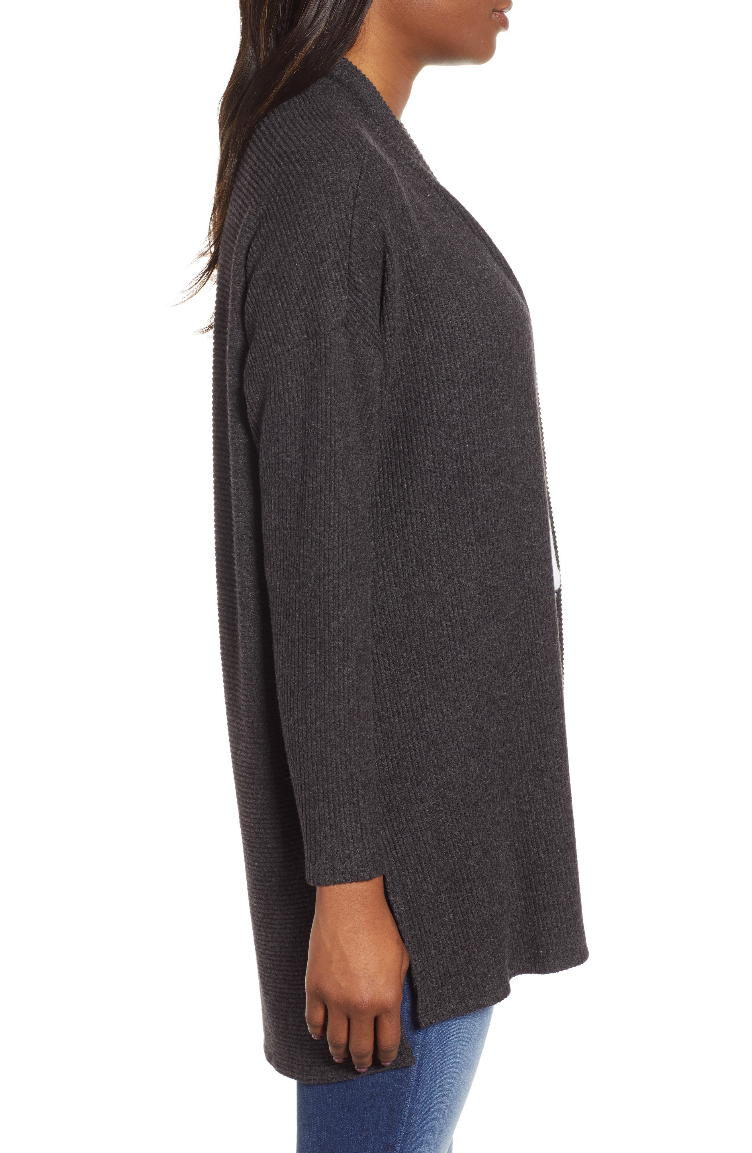 WIT & WISDOM, Ribbed Open Cardigan, Alternate thumbnail 3, color, CHARCOAL