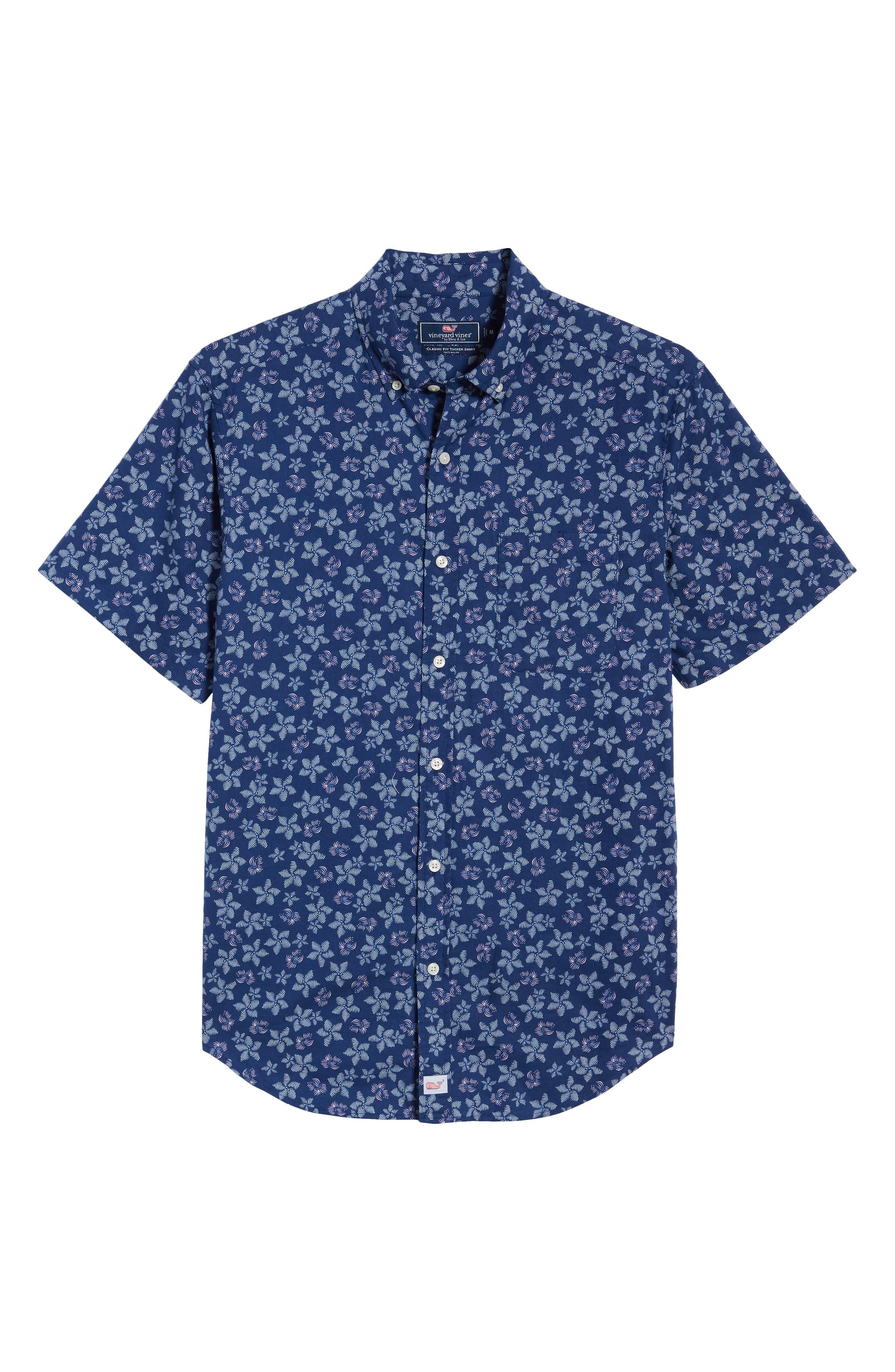 VINEYARD VINES, Murray Slim Fit Floral Print Sport Shirt, Alternate thumbnail 5, color, DEEP BAY