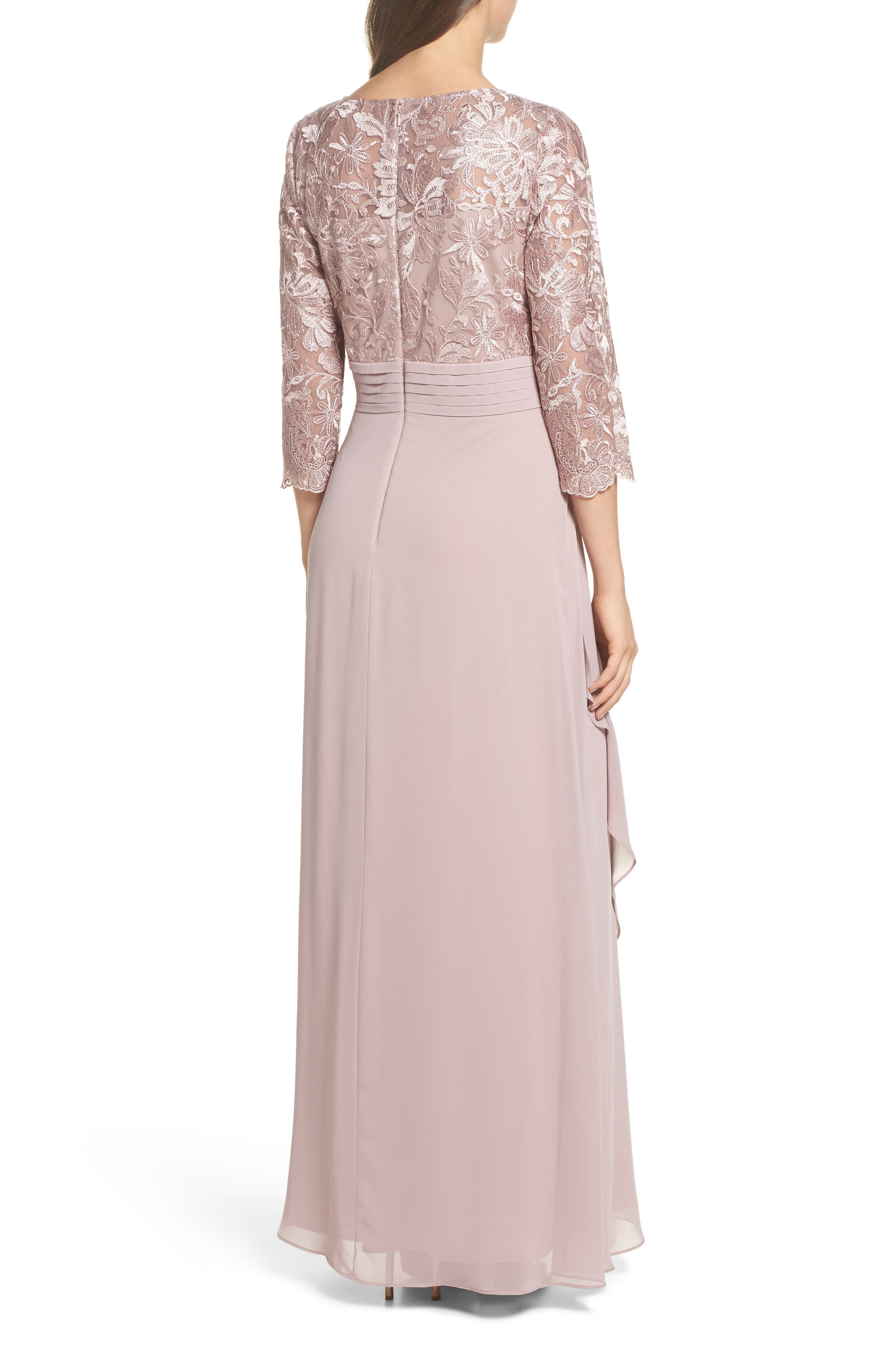 ALEX EVENINGS, Embroidered A-Line Gown, Alternate thumbnail 2, color, 695