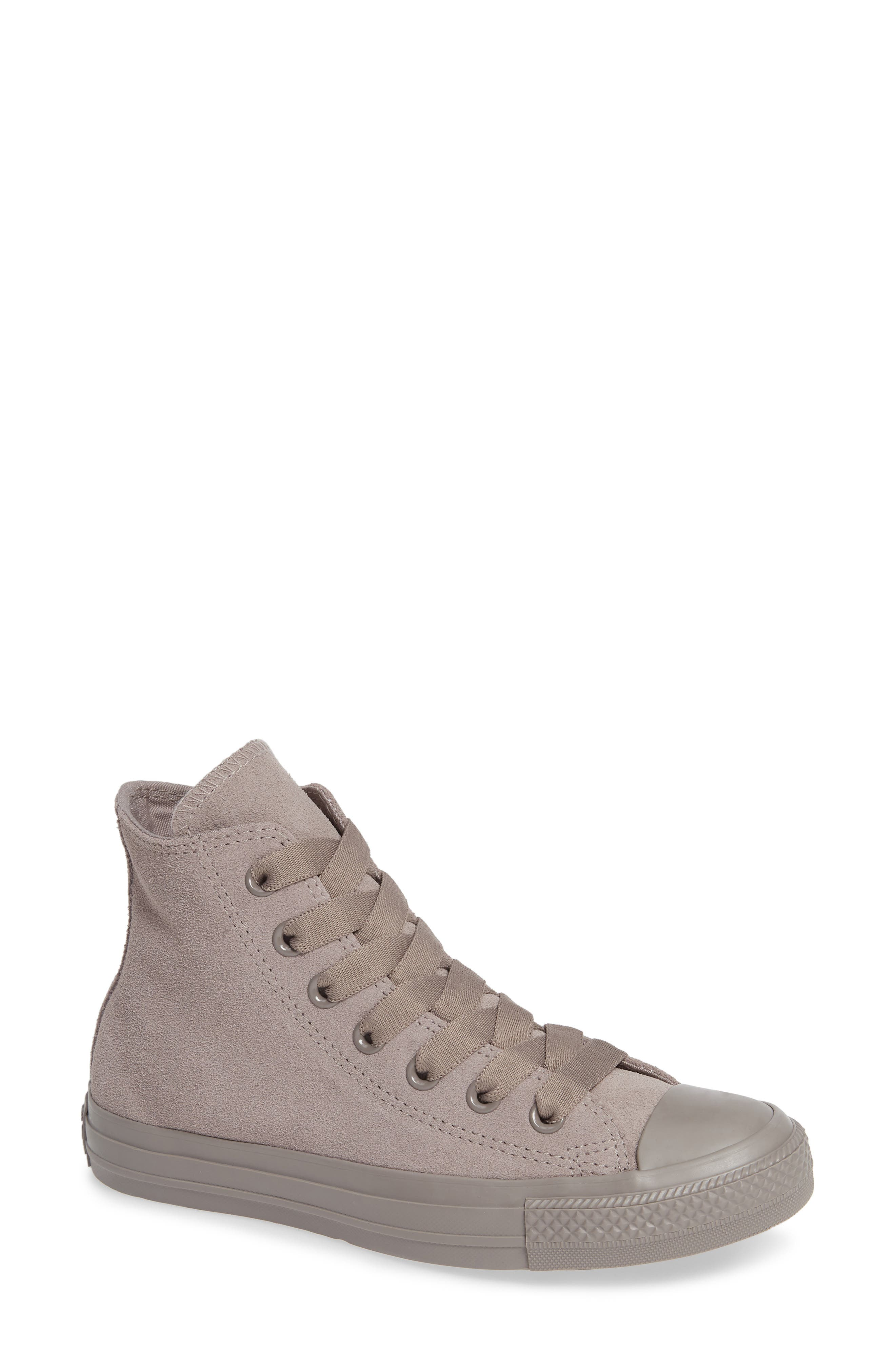 CONVERSE, Chuck Taylor<sup>®</sup> All Star<sup>®</sup> Hi Sneaker, Main thumbnail 1, color, MERCURY GREY SUEDE