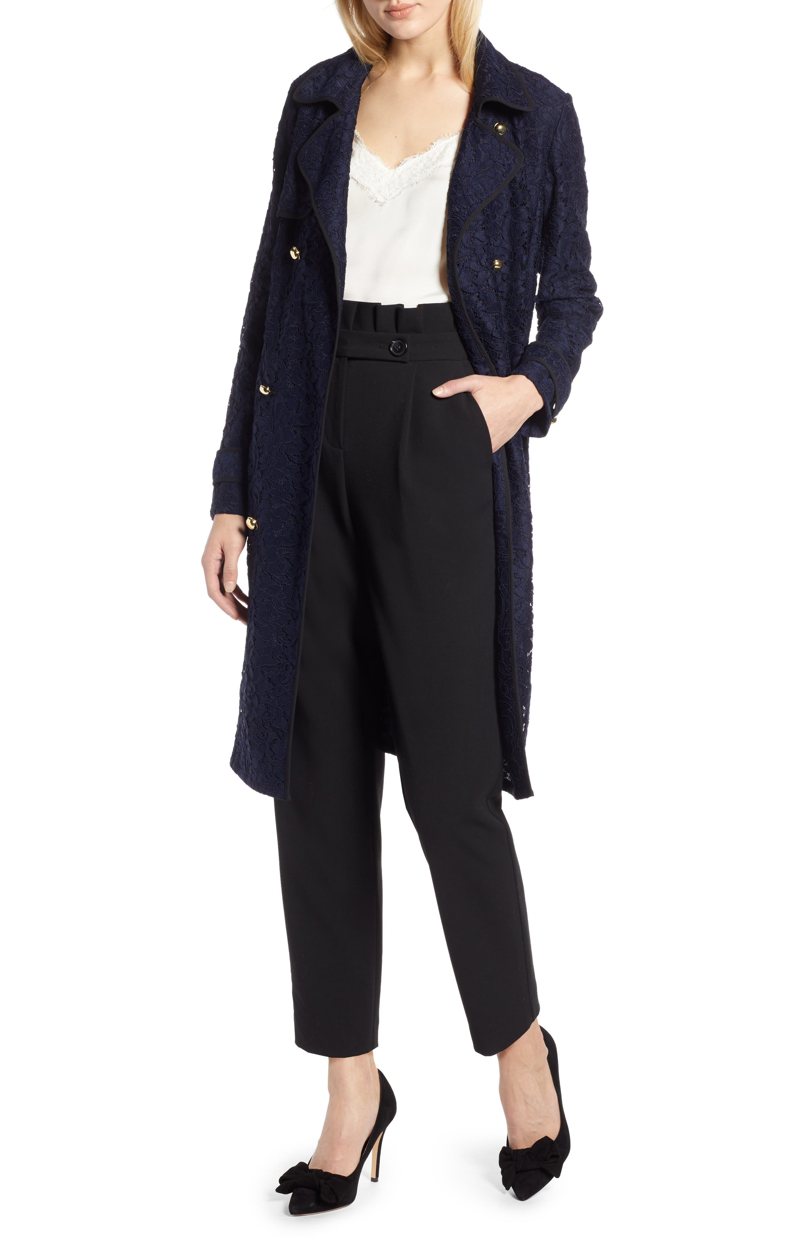 HALOGEN<SUP>®</SUP> x Atlantic-Pacific Lace Trench Coat, Main, color, 410
