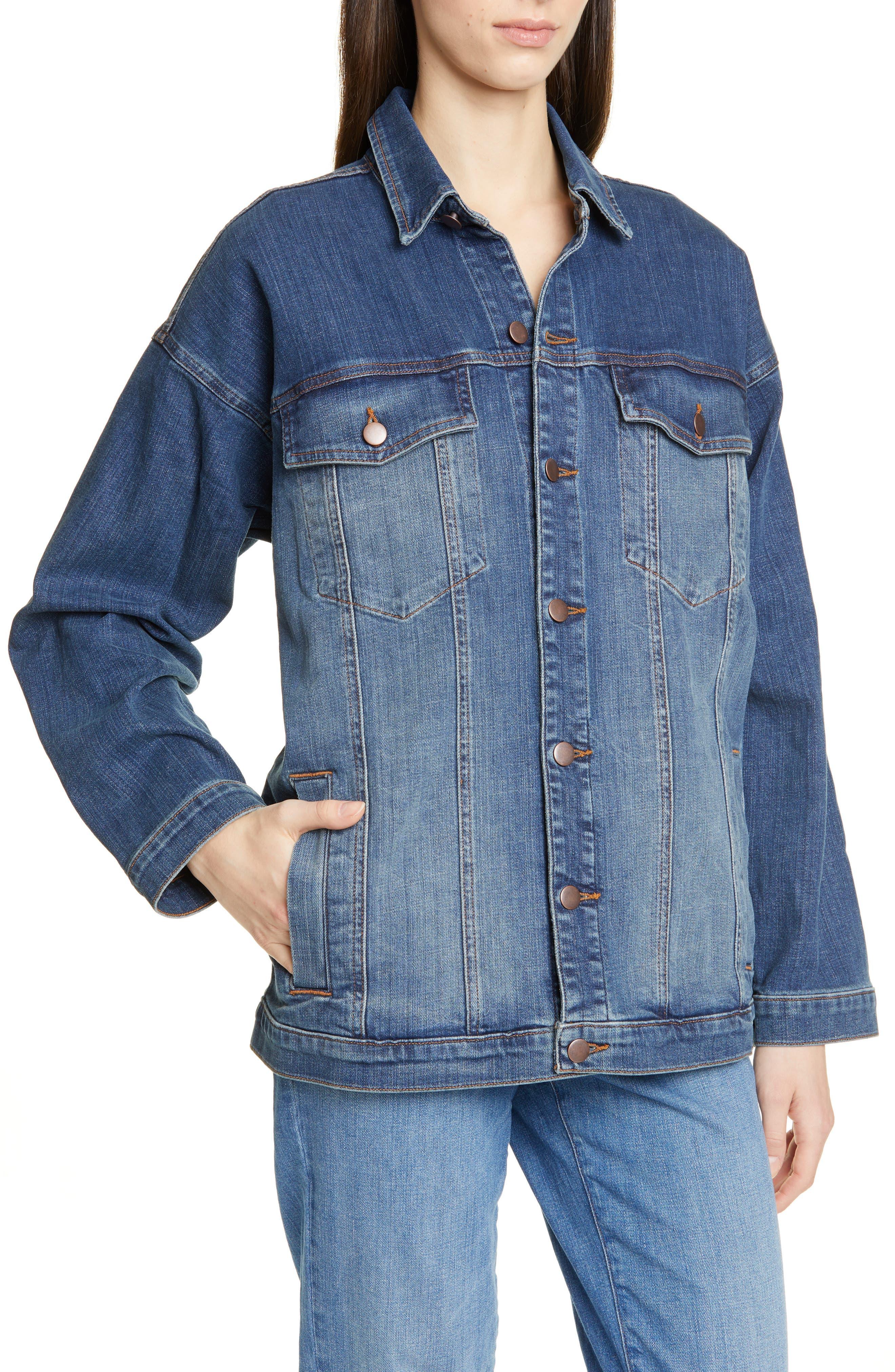 EILEEN FISHER, Oversize Stretch Organic Cotton Denim Jacket, Alternate thumbnail 5, color, AGED INDIGO