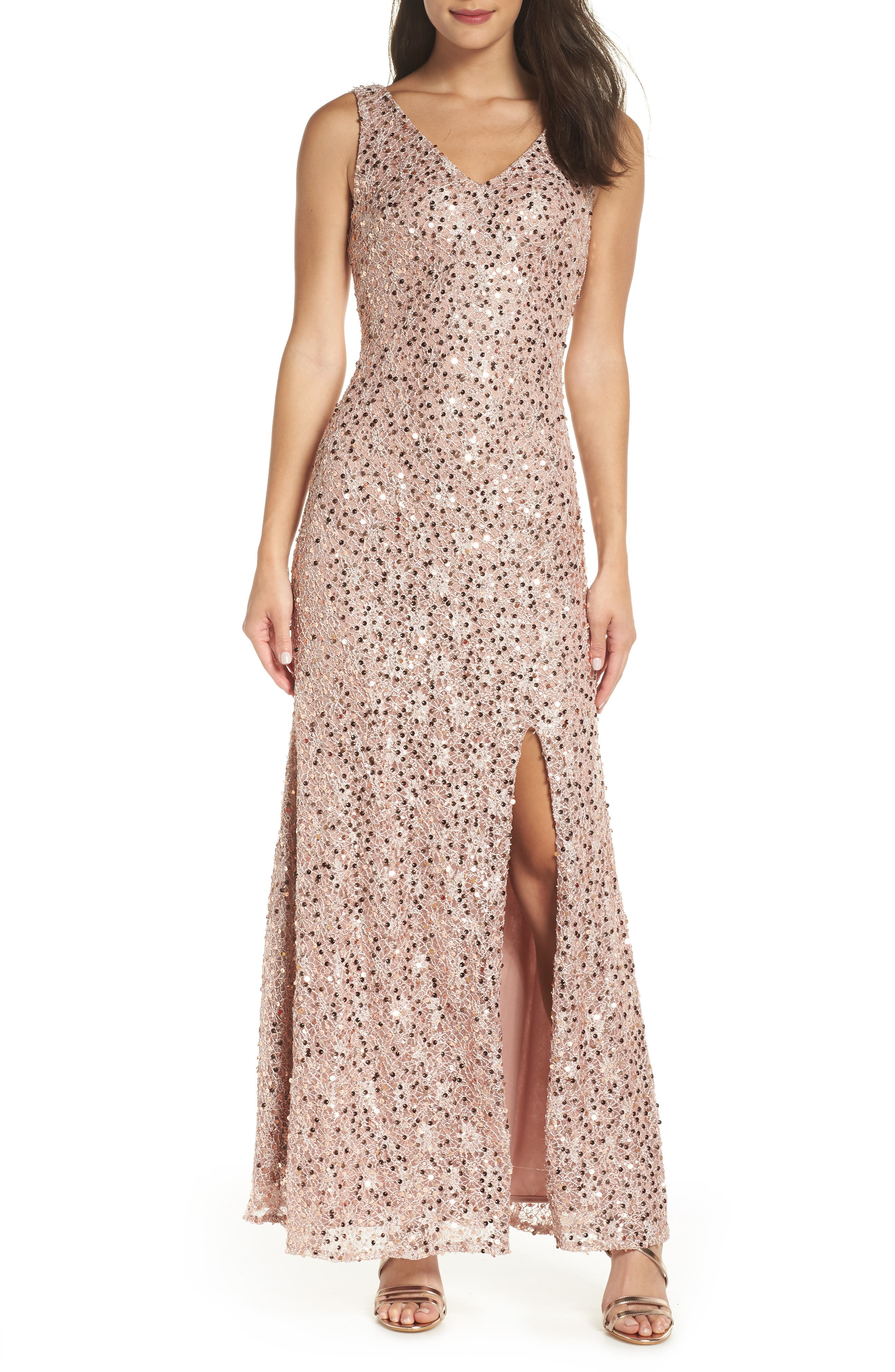 MORGAN & CO. Sequin & Lace Gown, Main, color, ROSE GOLD