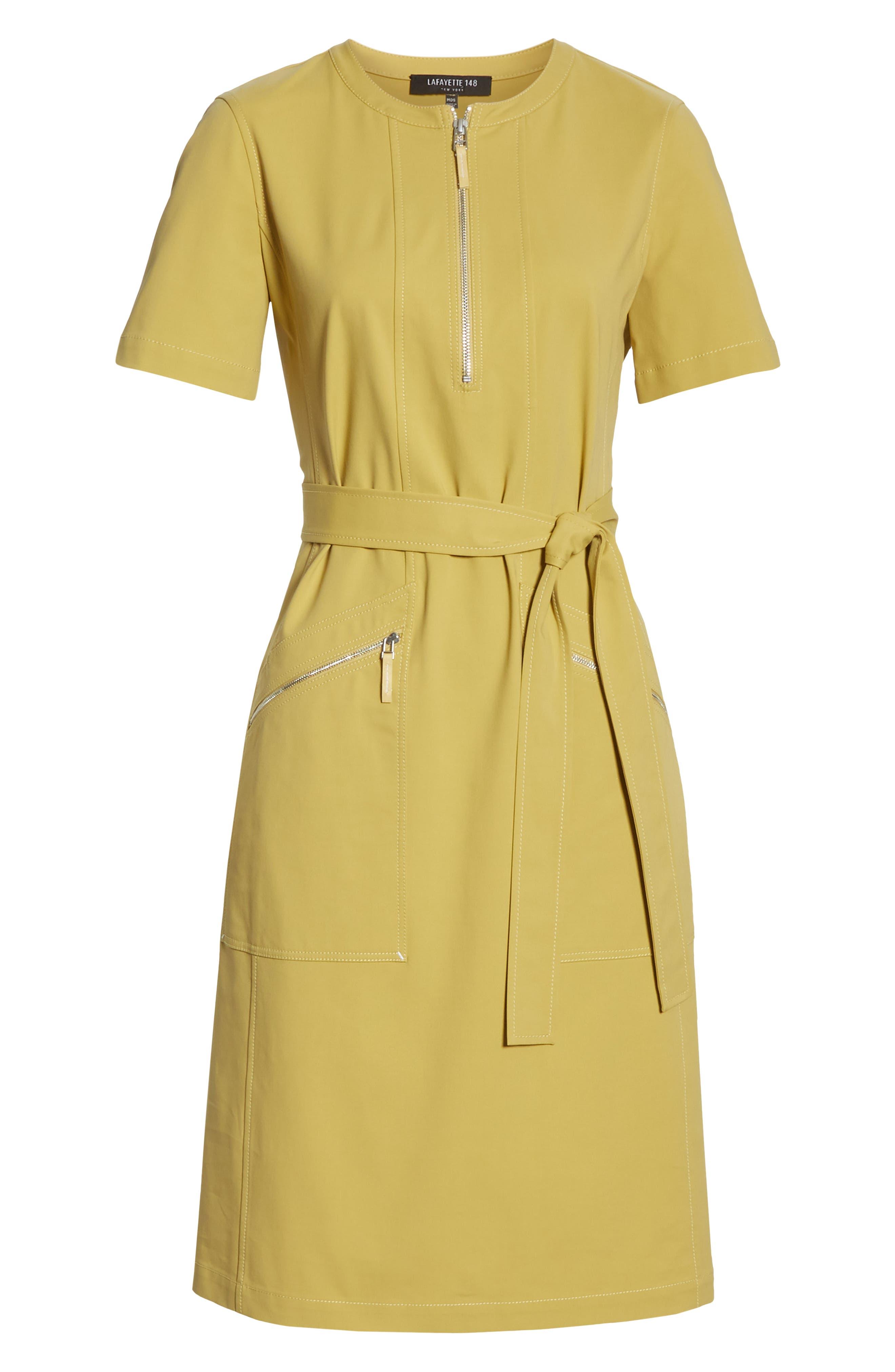 LAFAYETTE 148 NEW YORK, Elizabella Belted Dress, Alternate thumbnail 8, color, GREEN TEA
