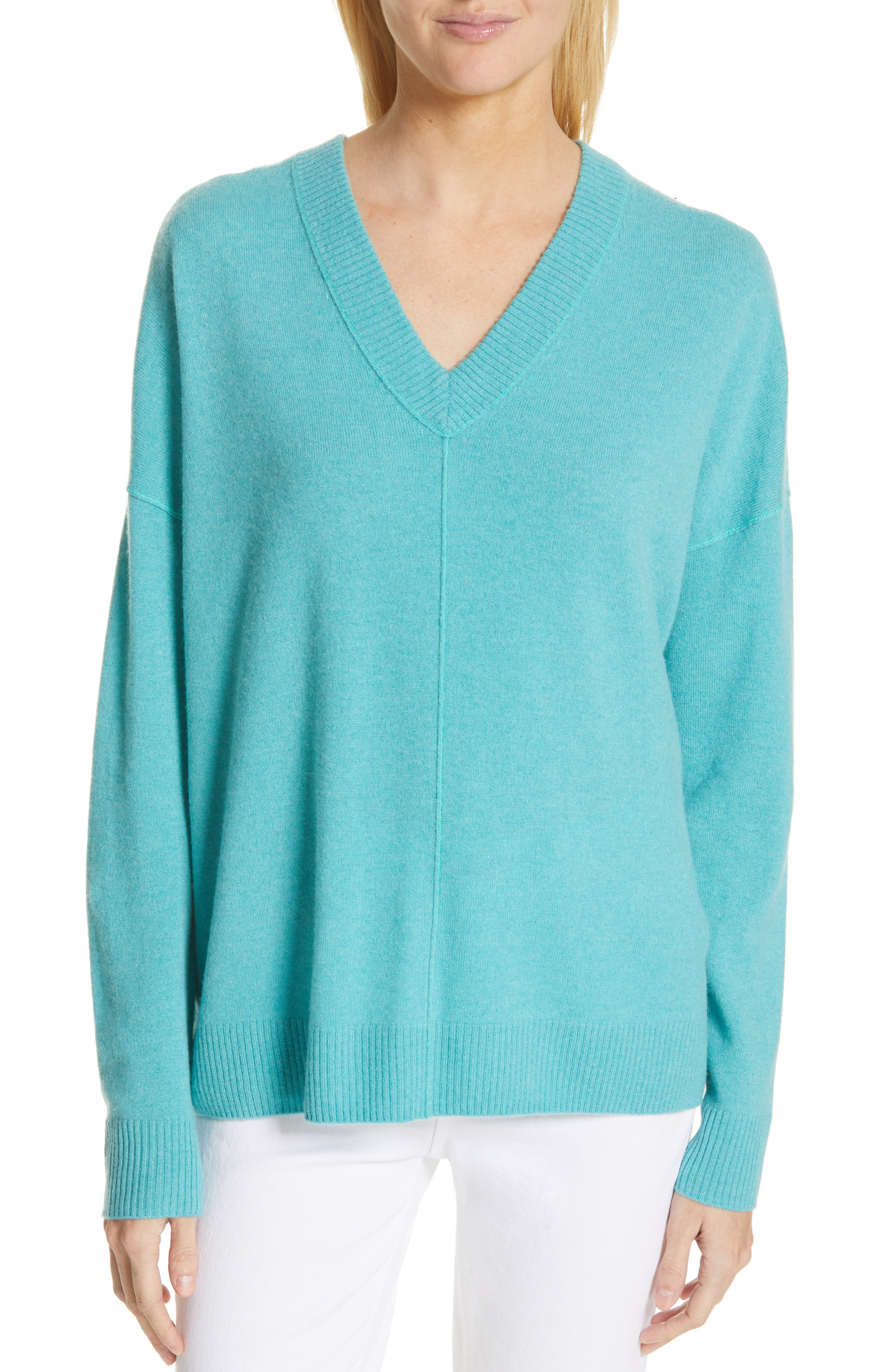 NORDSTROM SIGNATURE Cashmere Double V-Neck Pullover, Main, color, TEAL PORCELAIN