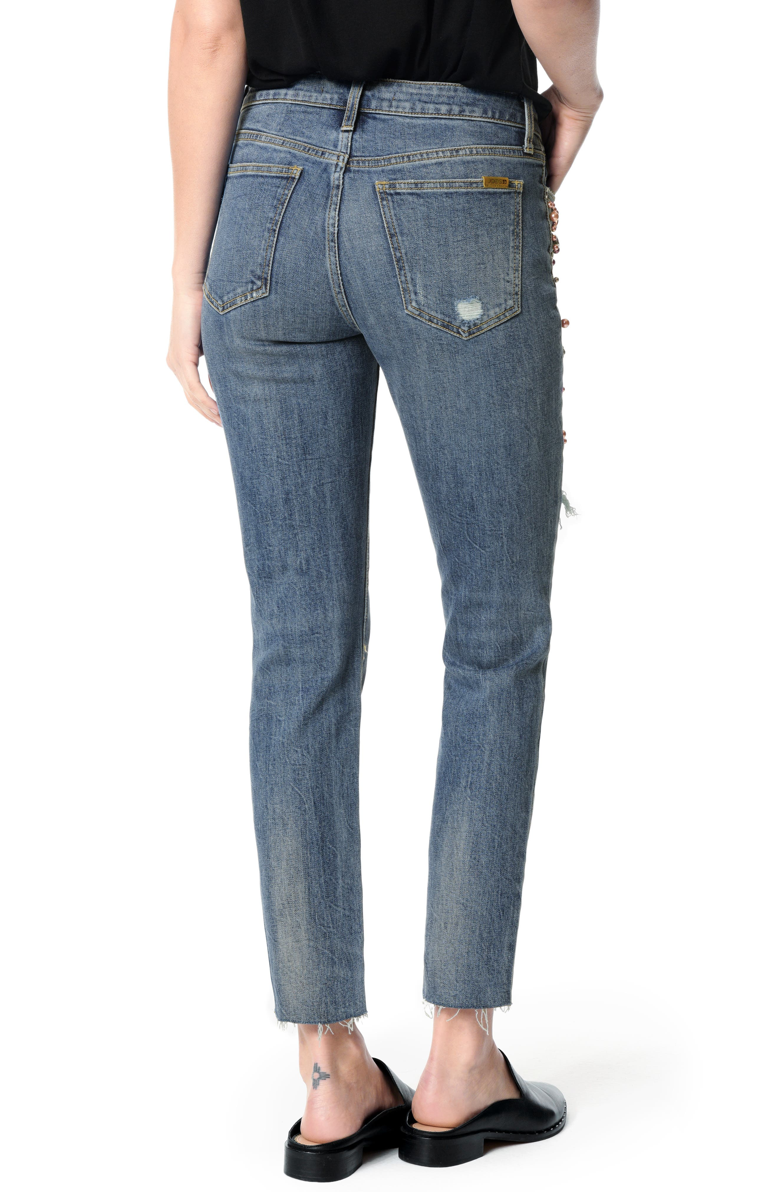 JOE'S, Smith Embellished High Waist Raw Hem Ankle Boyfriend Jeans, Alternate thumbnail 2, color, SHEYENNE