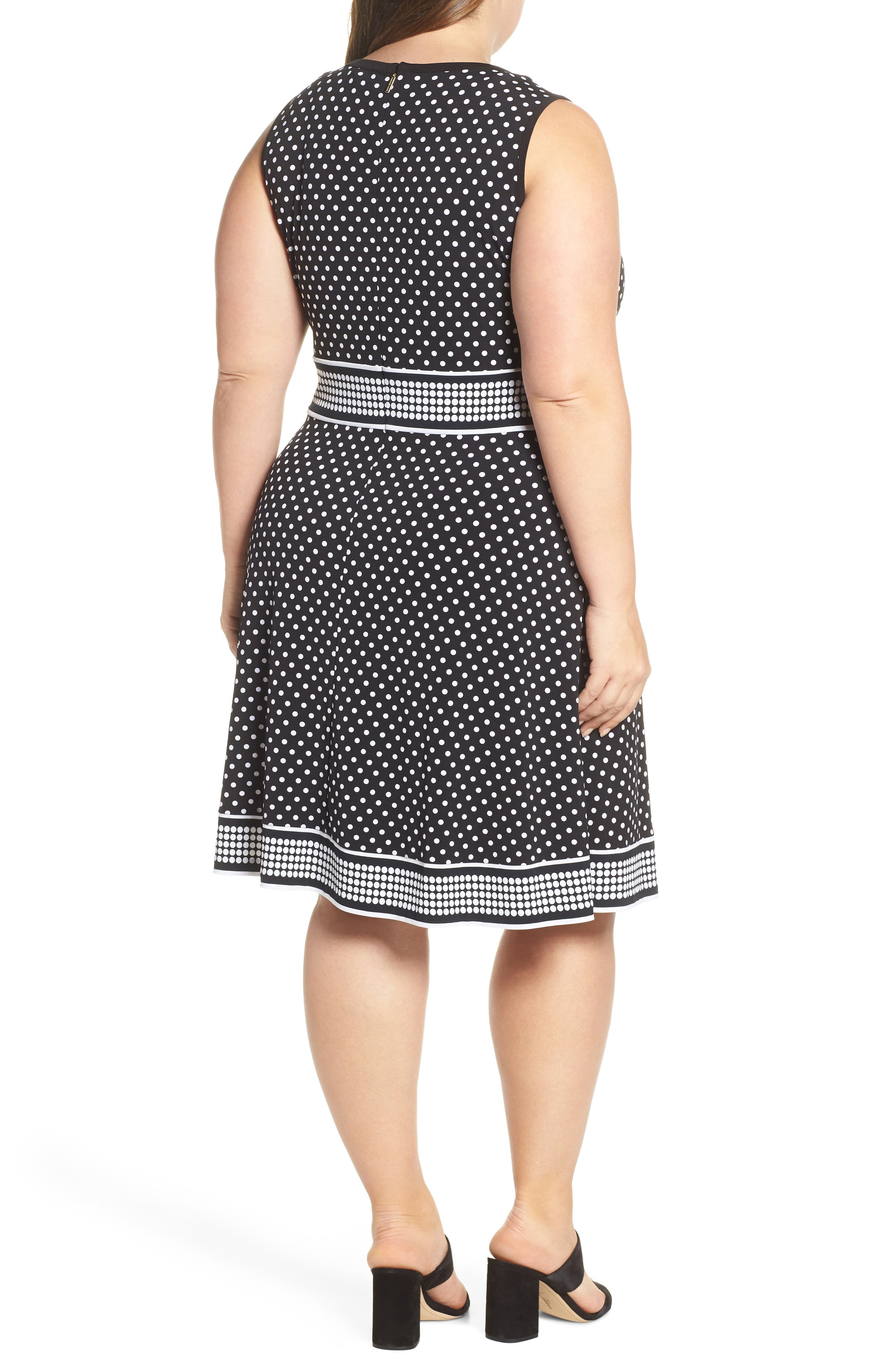 MICHAEL MICHAEL KORS, Mixed Polka Dot Dress, Alternate thumbnail 2, color, BLACK/ WHITE