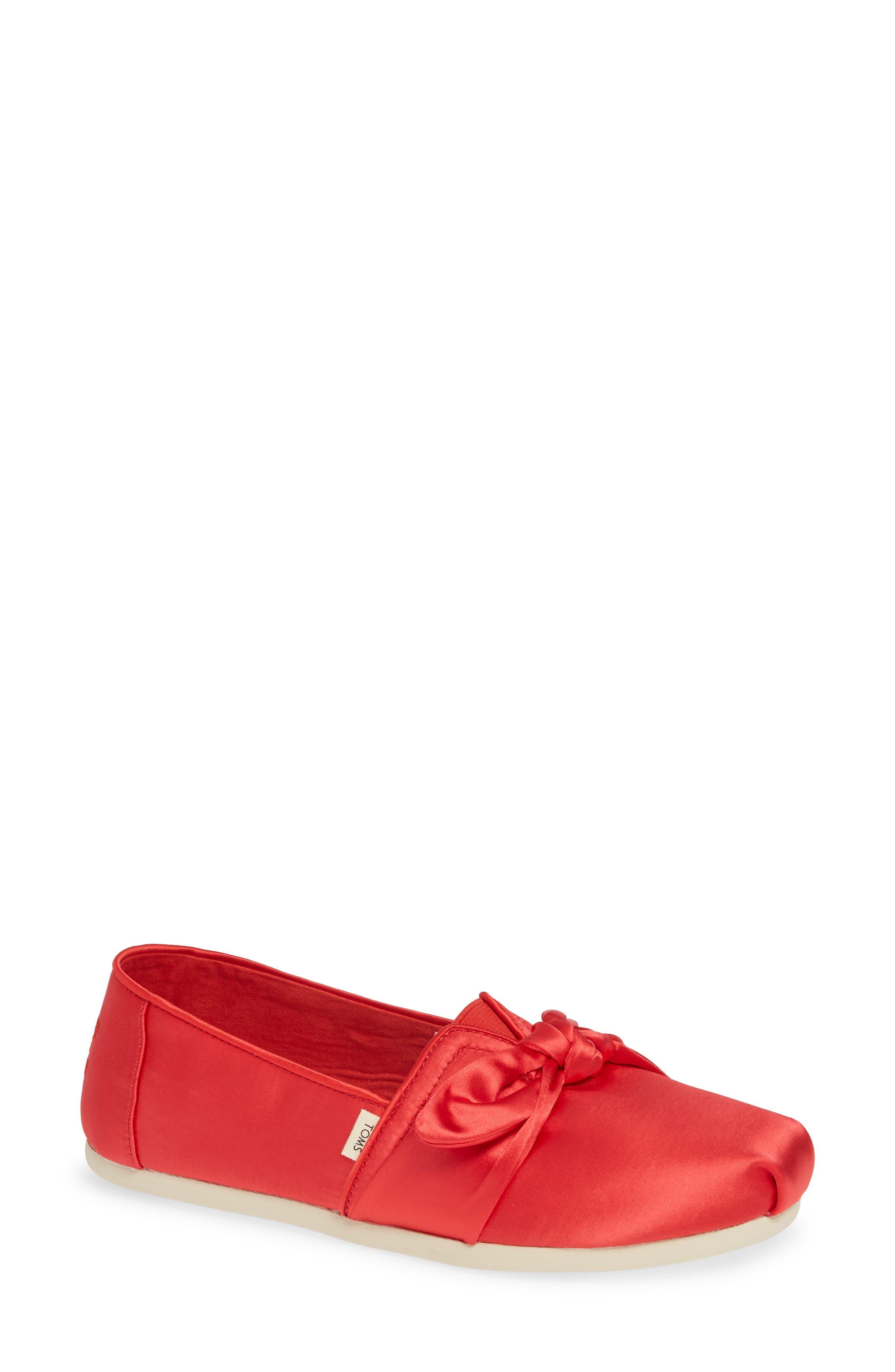 TOMS, Alpargata Bow Slip-On, Main thumbnail 1, color, RED LAVA FABRIC