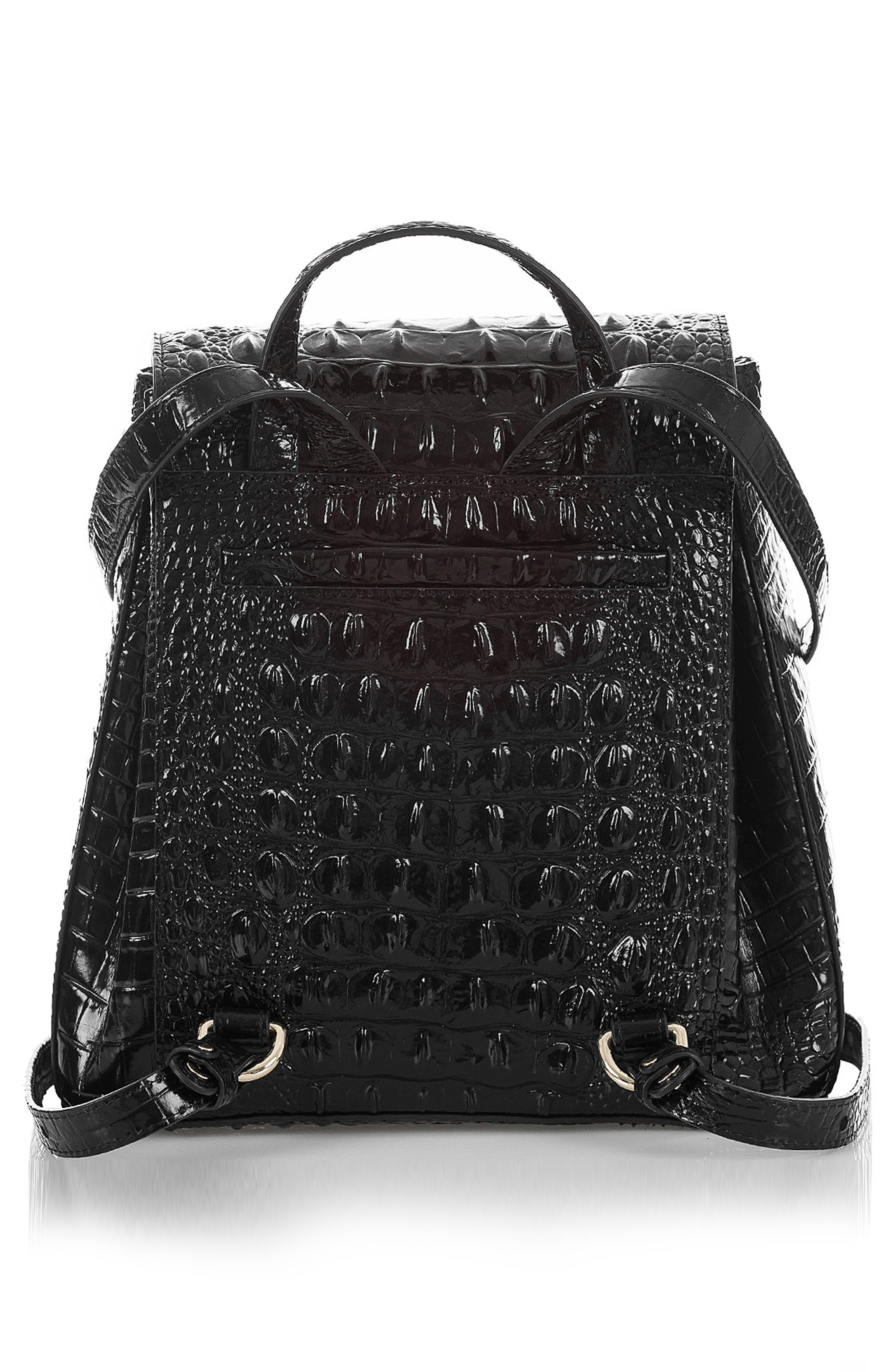 BRAHMIN, Margo Croc Embossed Leather Backpack, Alternate thumbnail 2, color, BLACK MELBOURNE