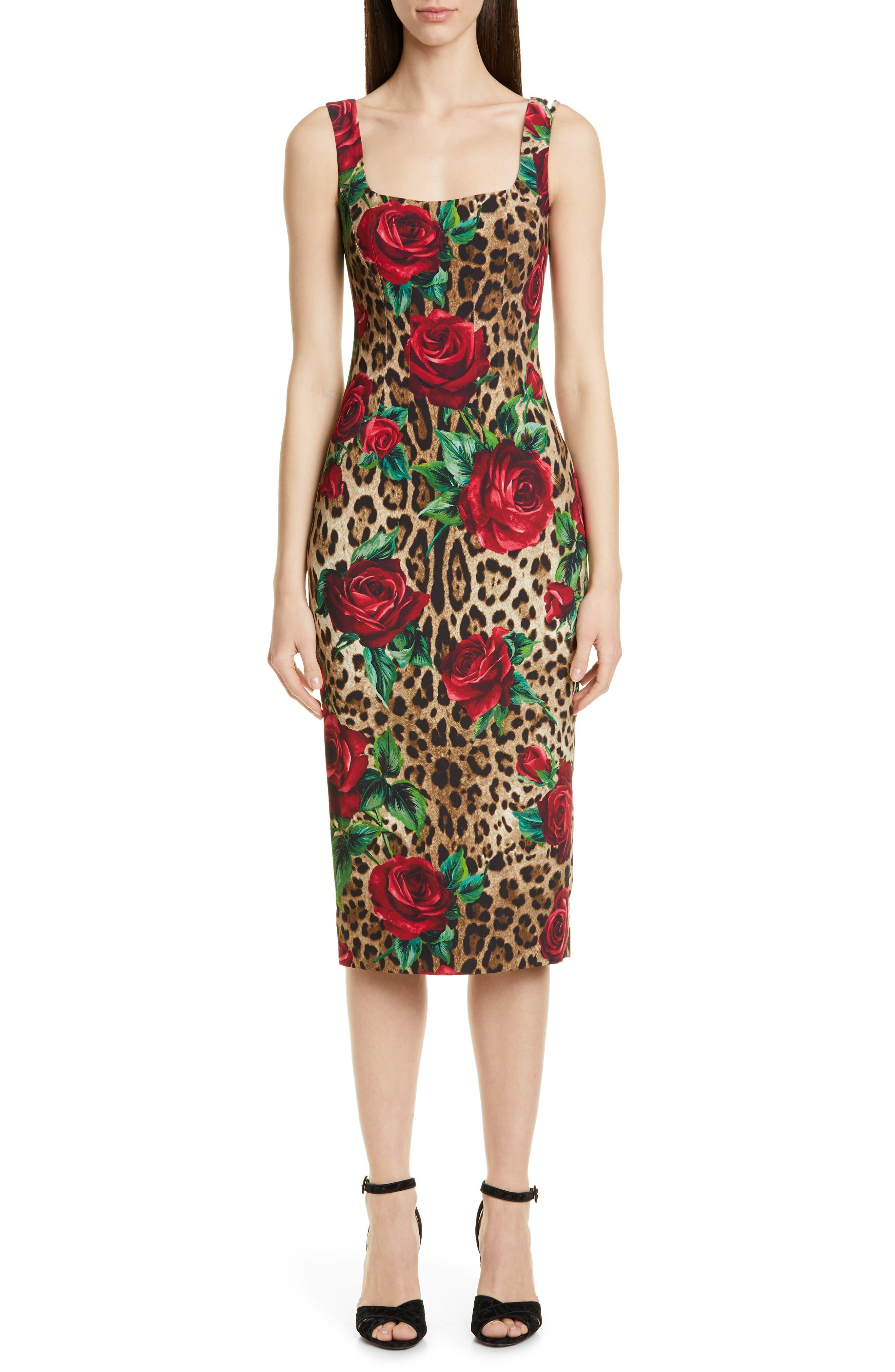 Dolce & gabbana Embellished Rose & Leopard Print Cady Pencil Dress, US / 40 IT - Brown