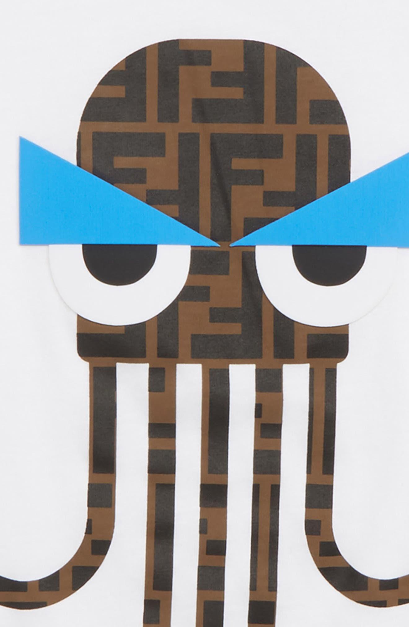 FENDI, Octopus Logo T-Shirt, Alternate thumbnail 2, color, F0QA0 WHITE