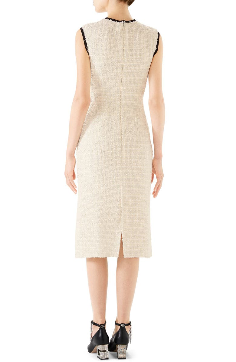 894c8954366 Gucci Rose-Front Bow-Neck Gauze Tweed Midi Dress In Neutrals