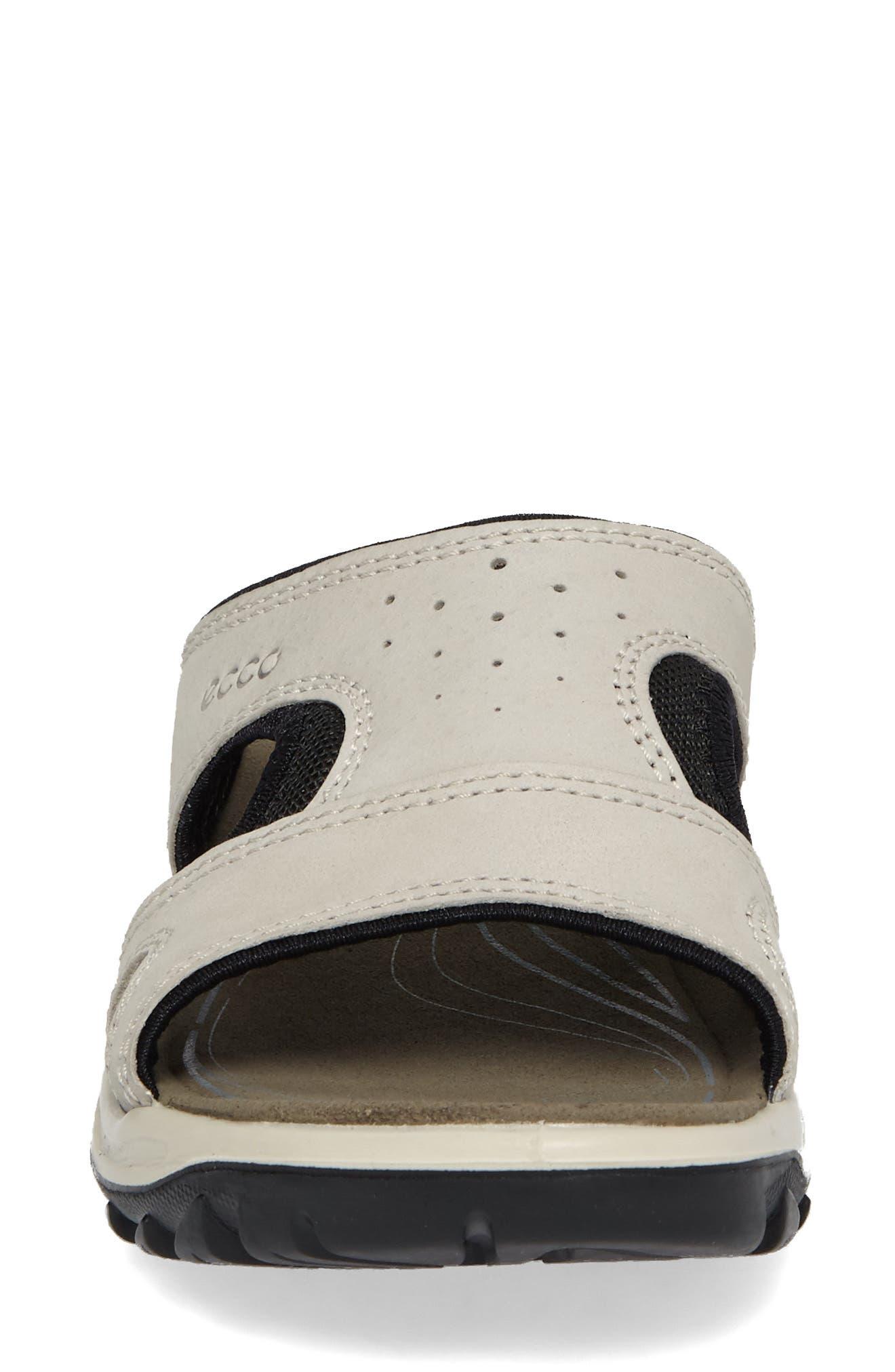 ECCO, Offroad Lite Slide Sandal, Alternate thumbnail 4, color, GRAVEL/ BLACK LEATHER