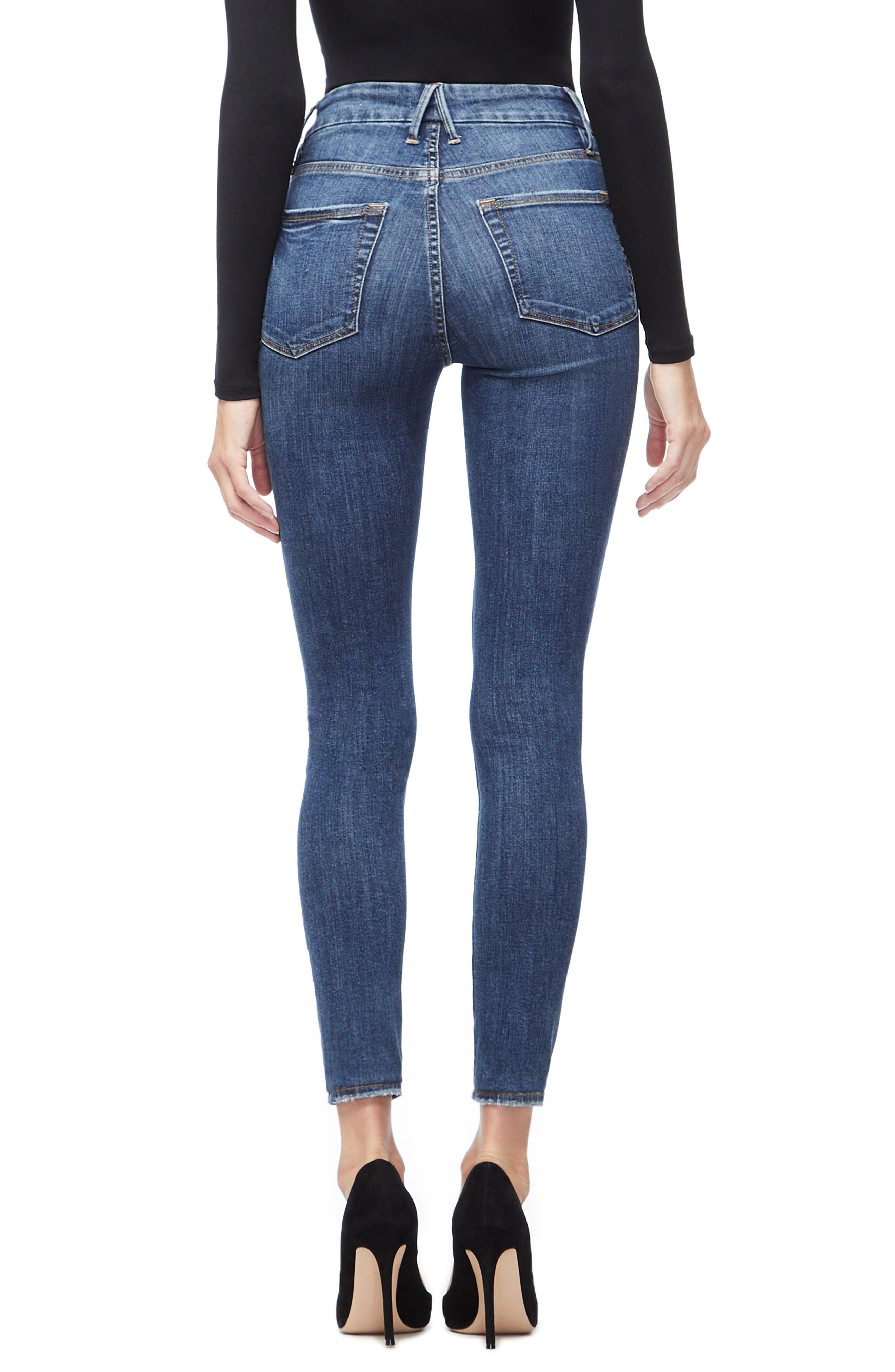 GOOD AMERICAN, Good Legs Ripped High Waist Skinny Jeans, Alternate thumbnail 4, color, BLUE208