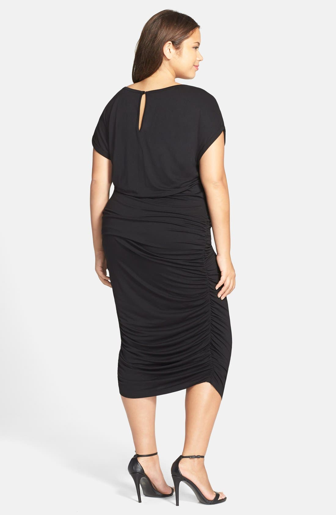 VINCE CAMUTO, Side Ruched Jersey Midi Dress, Alternate thumbnail 8, color, 001