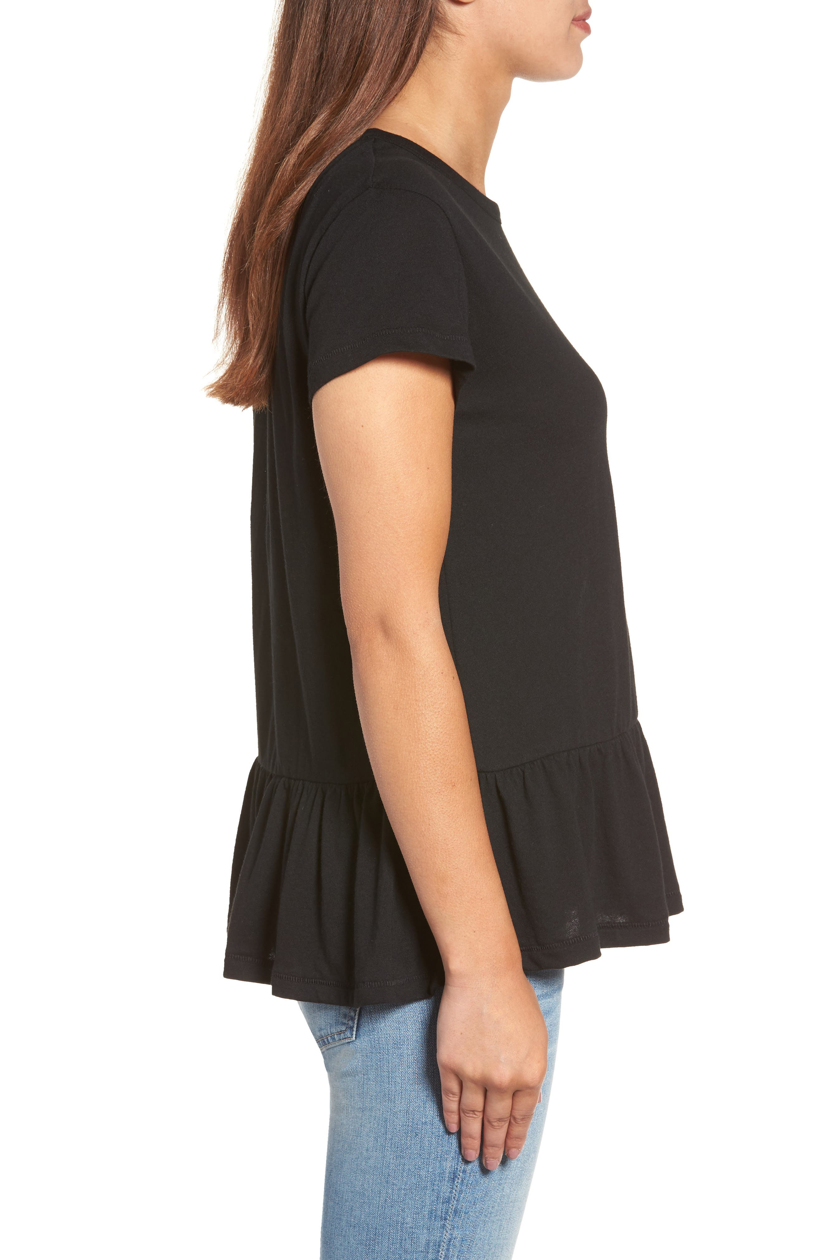 CASLON<SUP>®</SUP>, Peplum Tee, Alternate thumbnail 3, color, BLACK