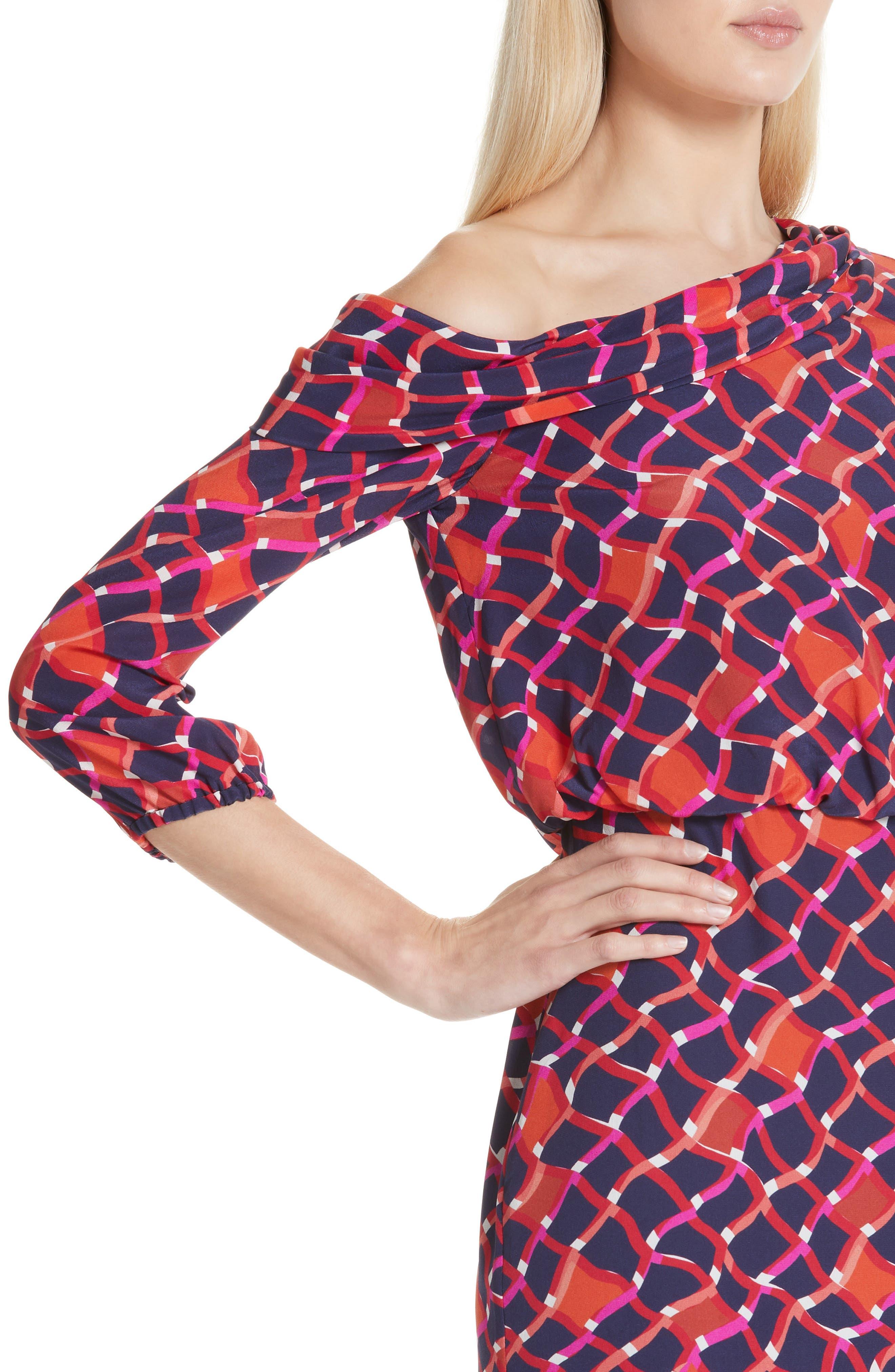 SALONI, Lexie Silk Asymmetrical Dress, Alternate thumbnail 4, color, MAZE