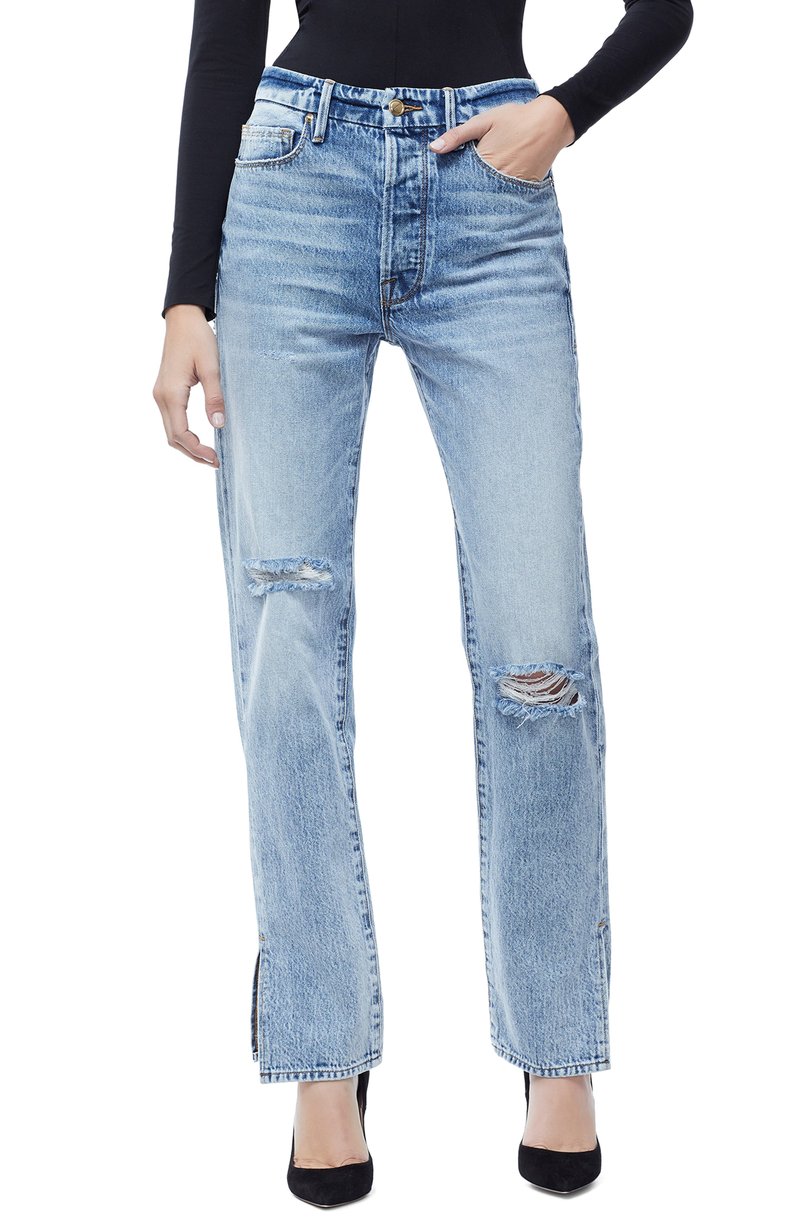 GOOD AMERICAN, Good Boy High Rise Ripped Boyfriend Jeans, Main thumbnail 1, color, BLUE 177