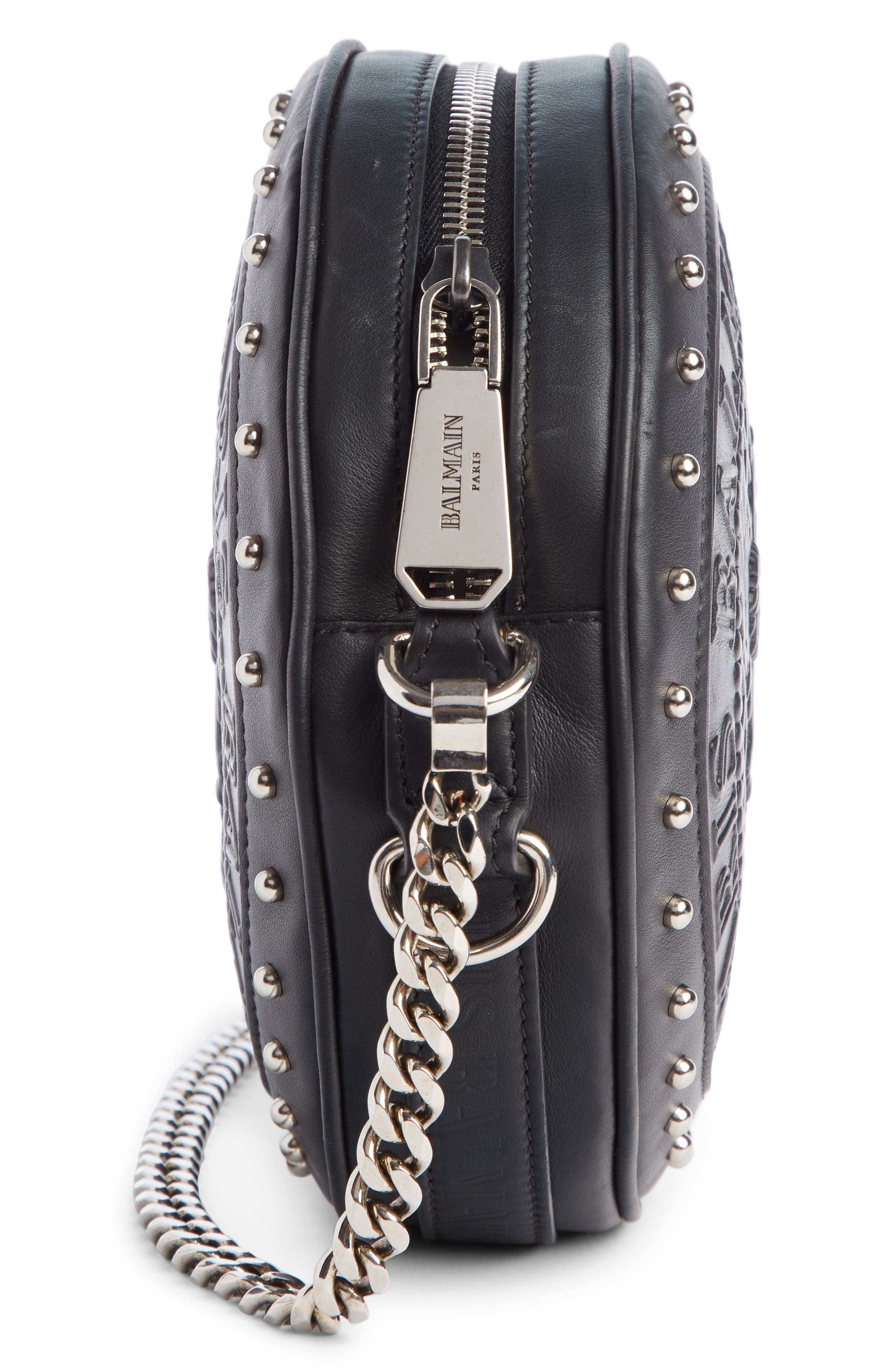 BALMAIN, Disco Embossed Calfskin Leather Crossbody Bag, Alternate thumbnail 4, color, NOIR
