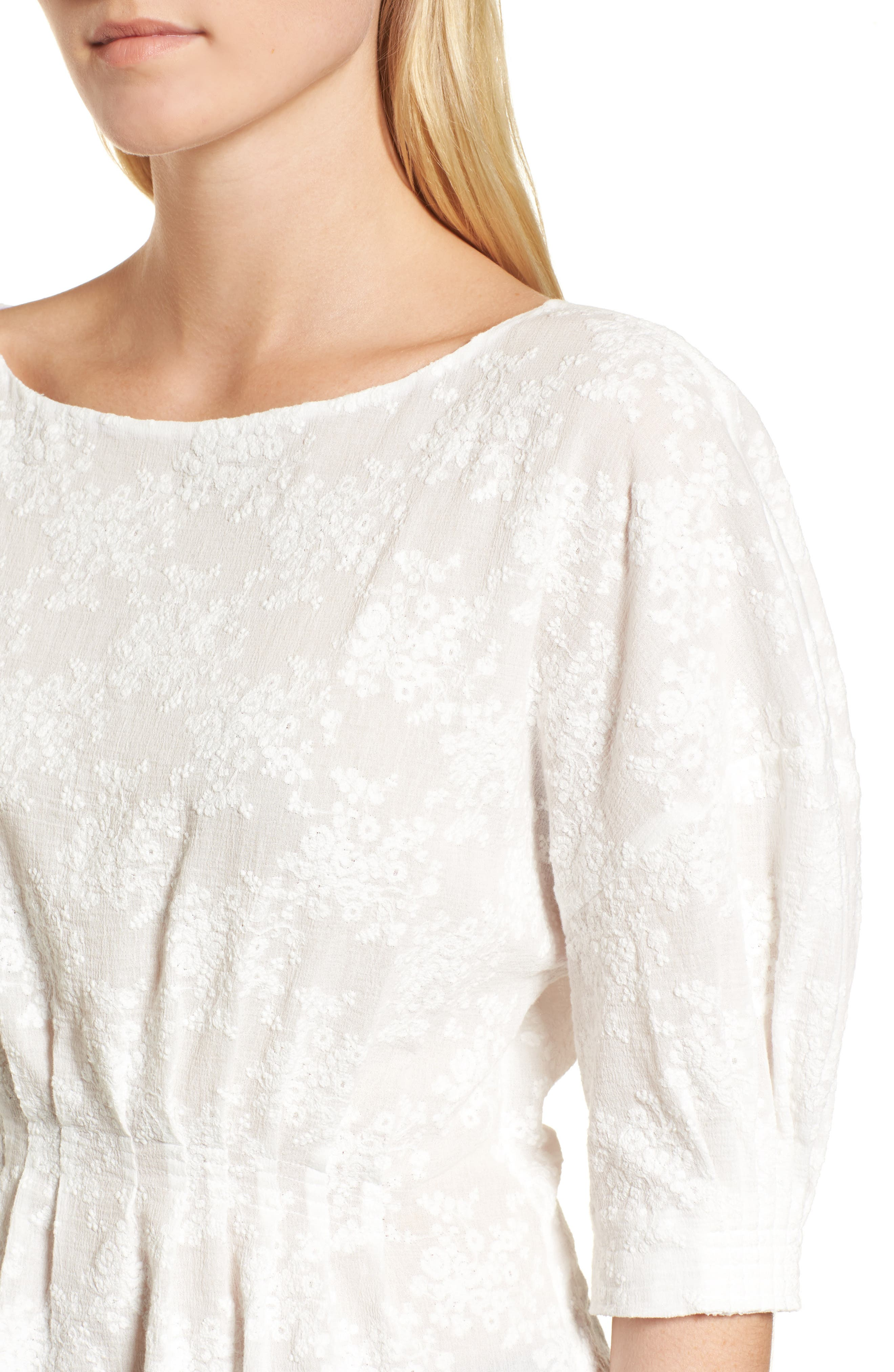 NORDSTROM SIGNATURE, Embroidered Tucked Top, Alternate thumbnail 4, color, 100