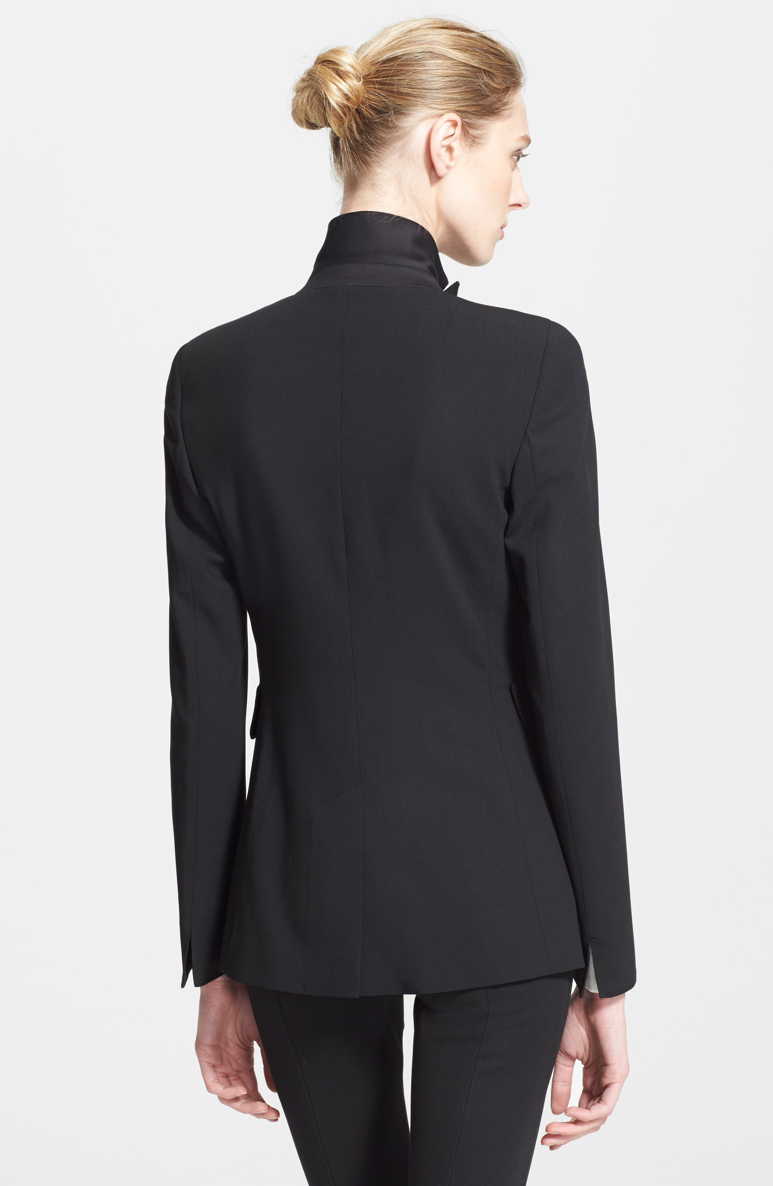 AKRIS PUNTO, Long One-Button Jacket, Alternate thumbnail 2, color, BLACK