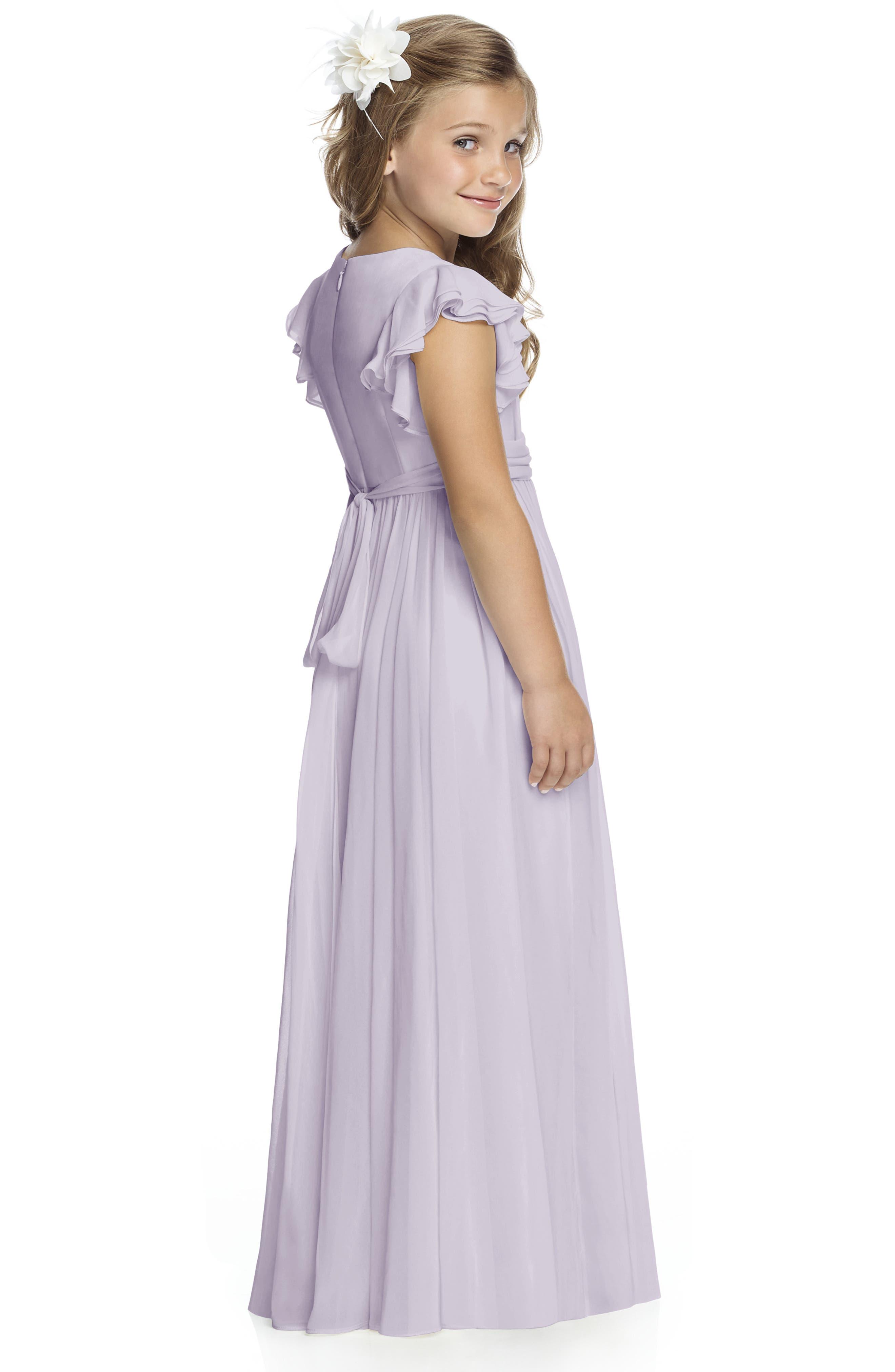 DESSY COLLECTION, Long Chiffon Flower Girl Dress, Alternate thumbnail 2, color, MOONDANCE