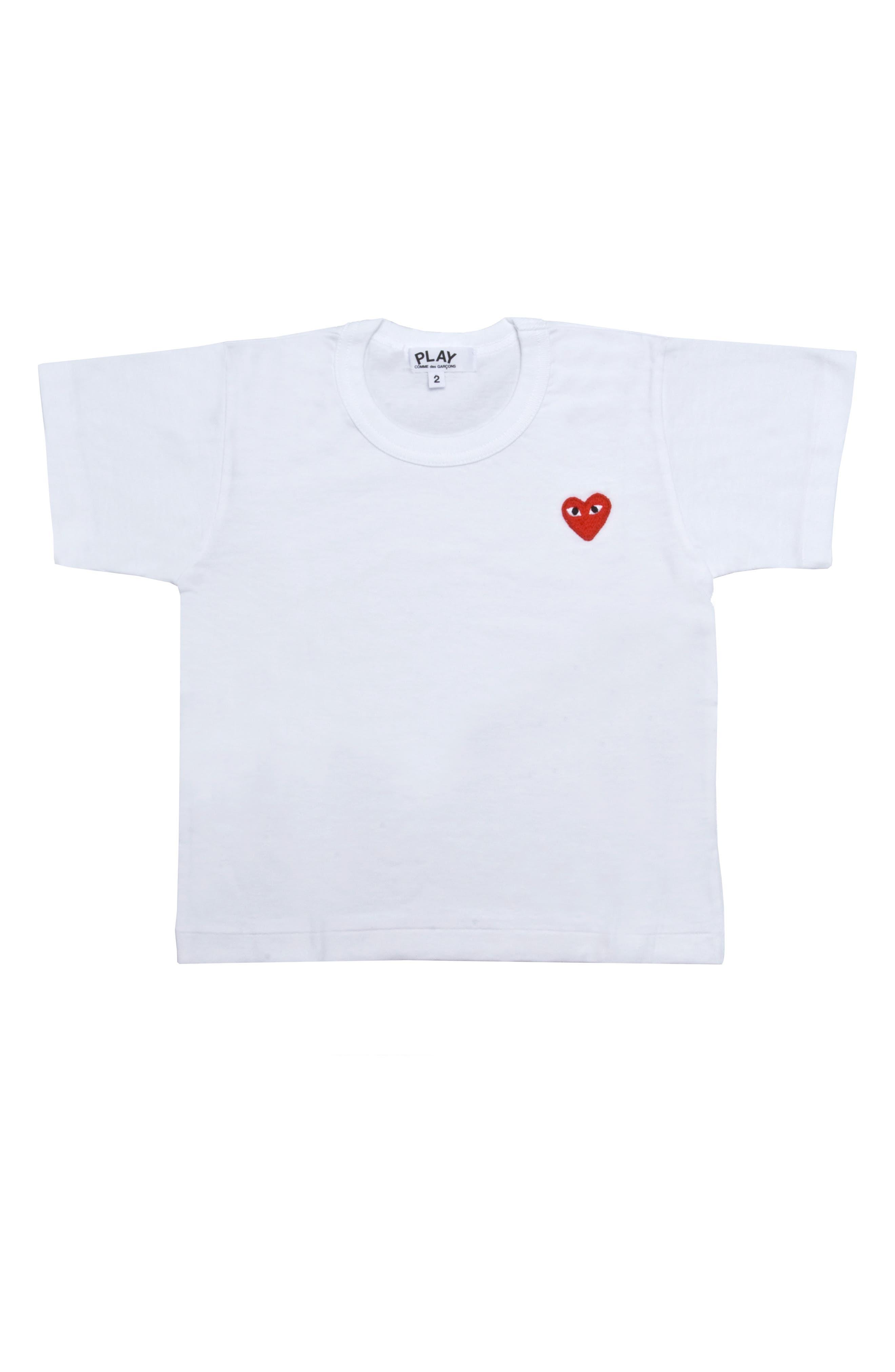 COMME DES GARÇONS PLAY, Little Red Heart T-Shirt, Main thumbnail 1, color, WHITE