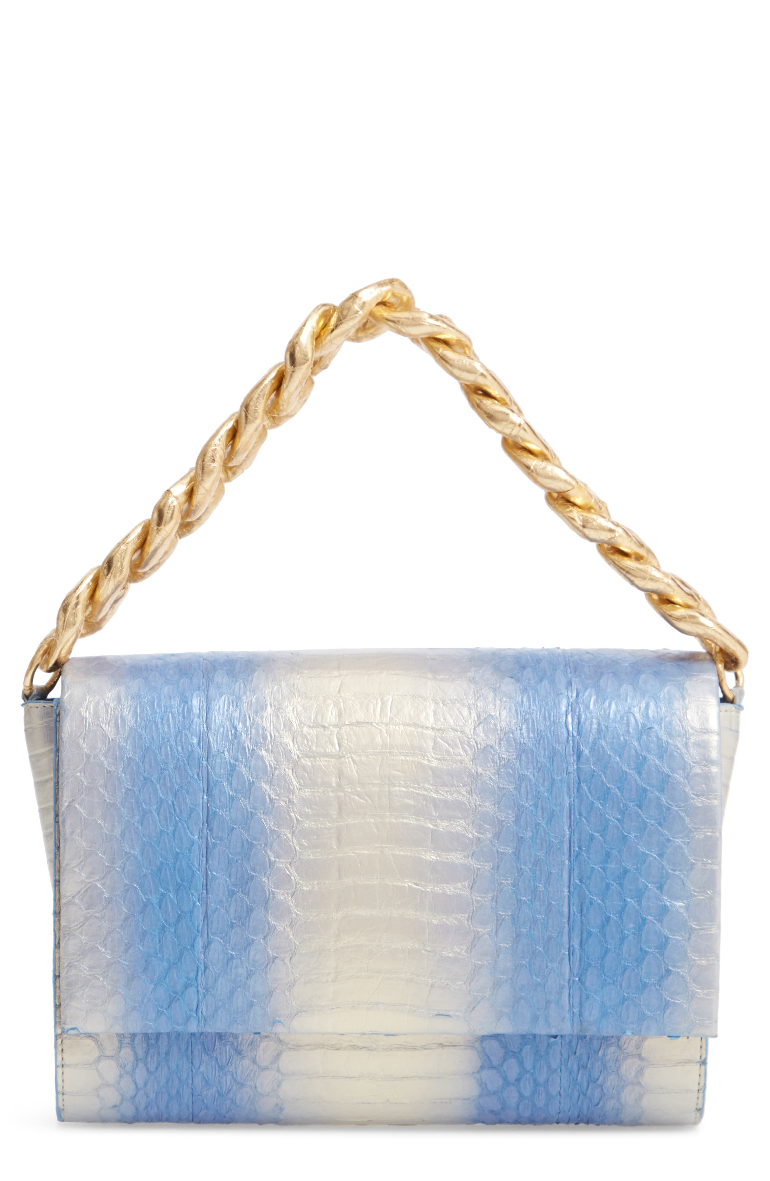 NANCY GONZALEZ, Small Carrie Genuine Crocodile Clutch, Main thumbnail 1, color, SILVER/ BLUE DEGRADE/ GOLD
